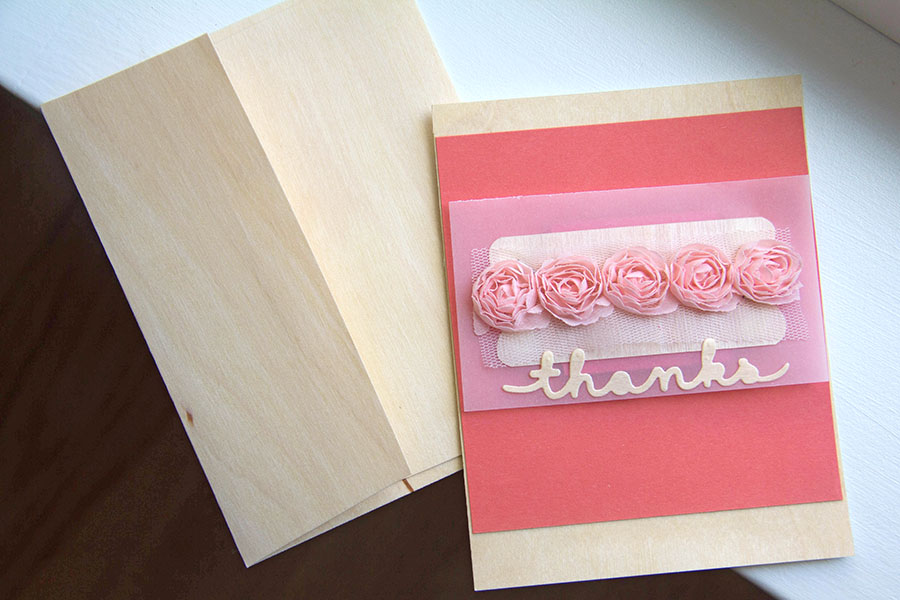 Simple BIRCH Wood Thanks card