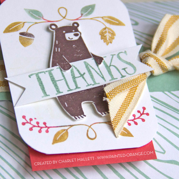 Thankful Forest Friends, Stampin' Up! Bear is holding the THANKS banner.