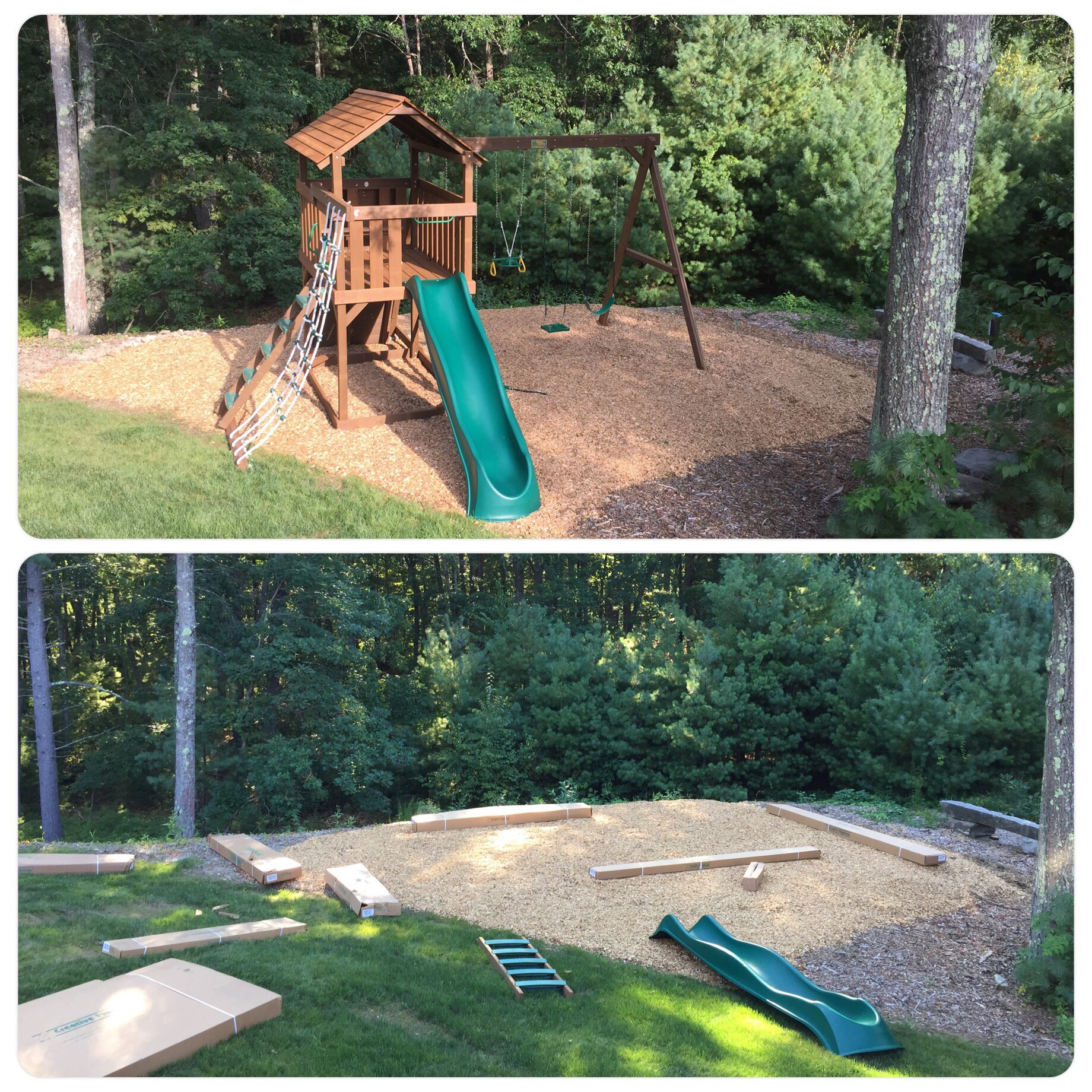 Our new play set - before and after