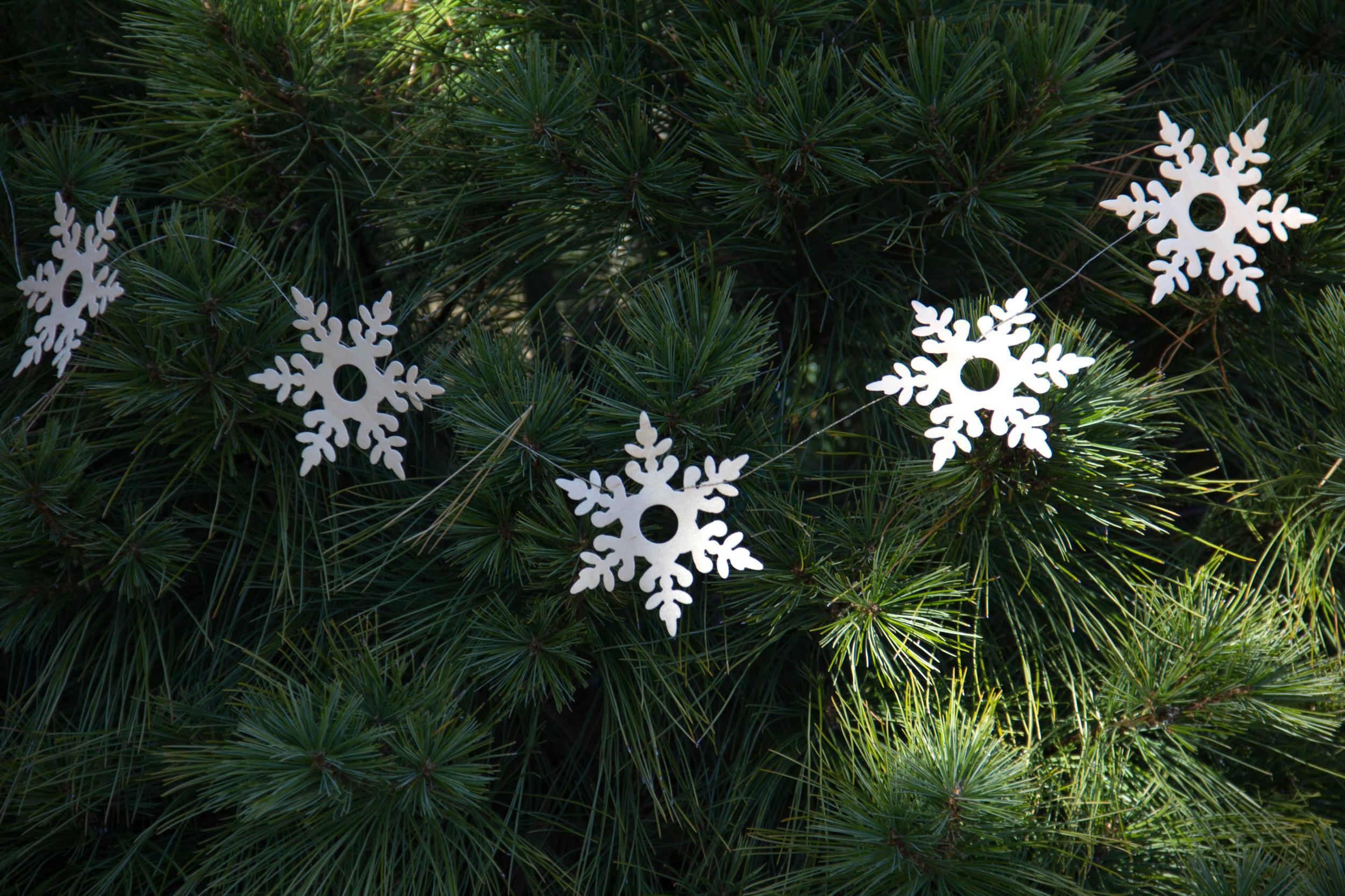 Wood paper snowflakes