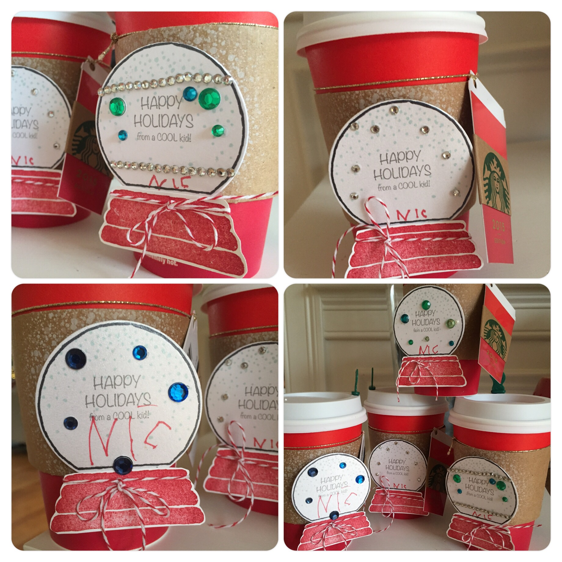 Teacher gifts: Coffee cups filled with chocolate. Snow globe tag and Starbucks gift card attached.