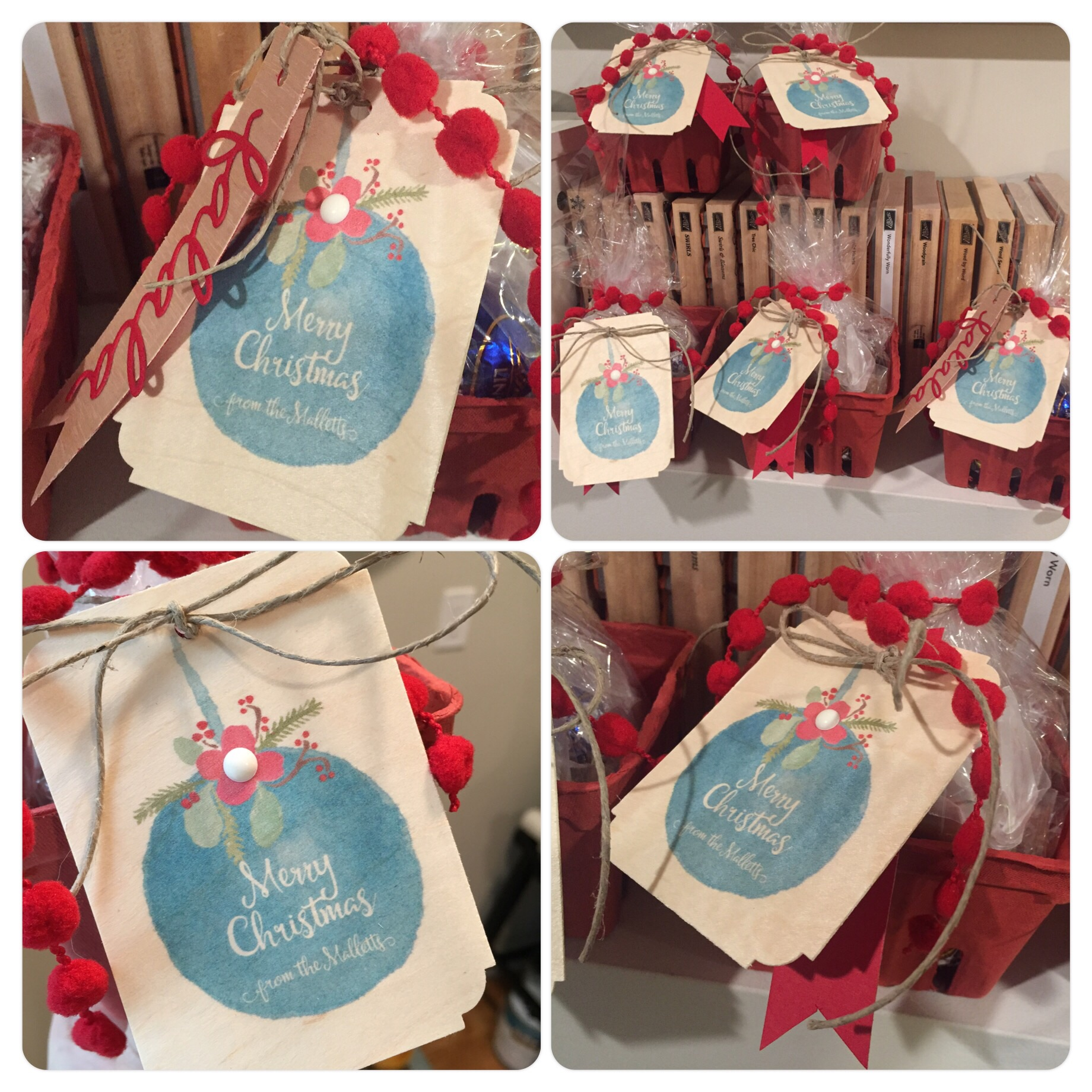Neighbor and friend gifts: Berry baskets filled with chocolate and caramel. Hand made/designed tag on wood.