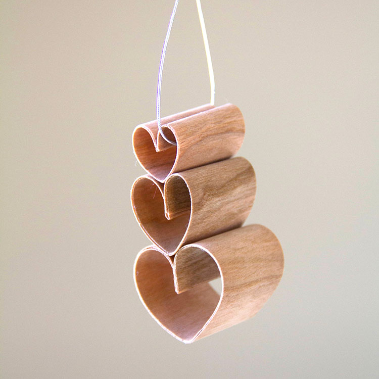 Wood Tape Heart oranment