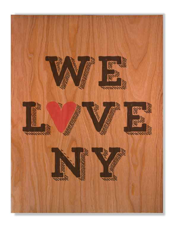 We Love NYC on Cherry Wood