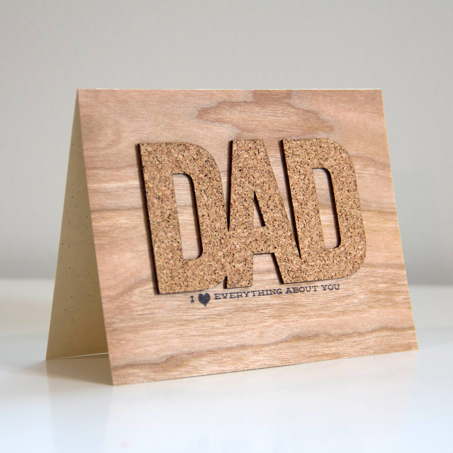 Dad's day card with CORK and Wood