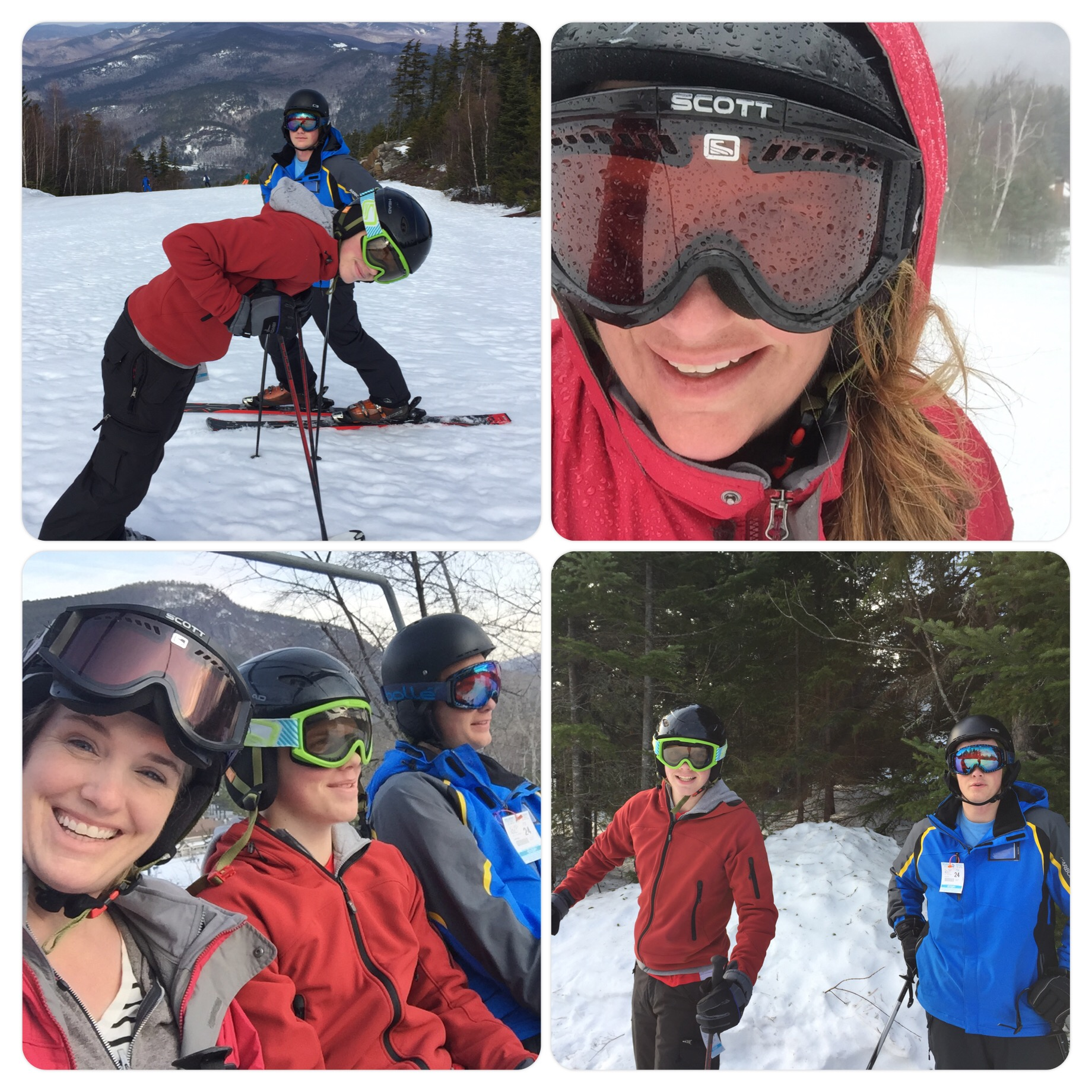Spring Attitash ski day! Nic was in lessons and Chris is not yet cleared to ski from his hip replacement. 1/2 day in 55 degree weather, second half of day in downpour.