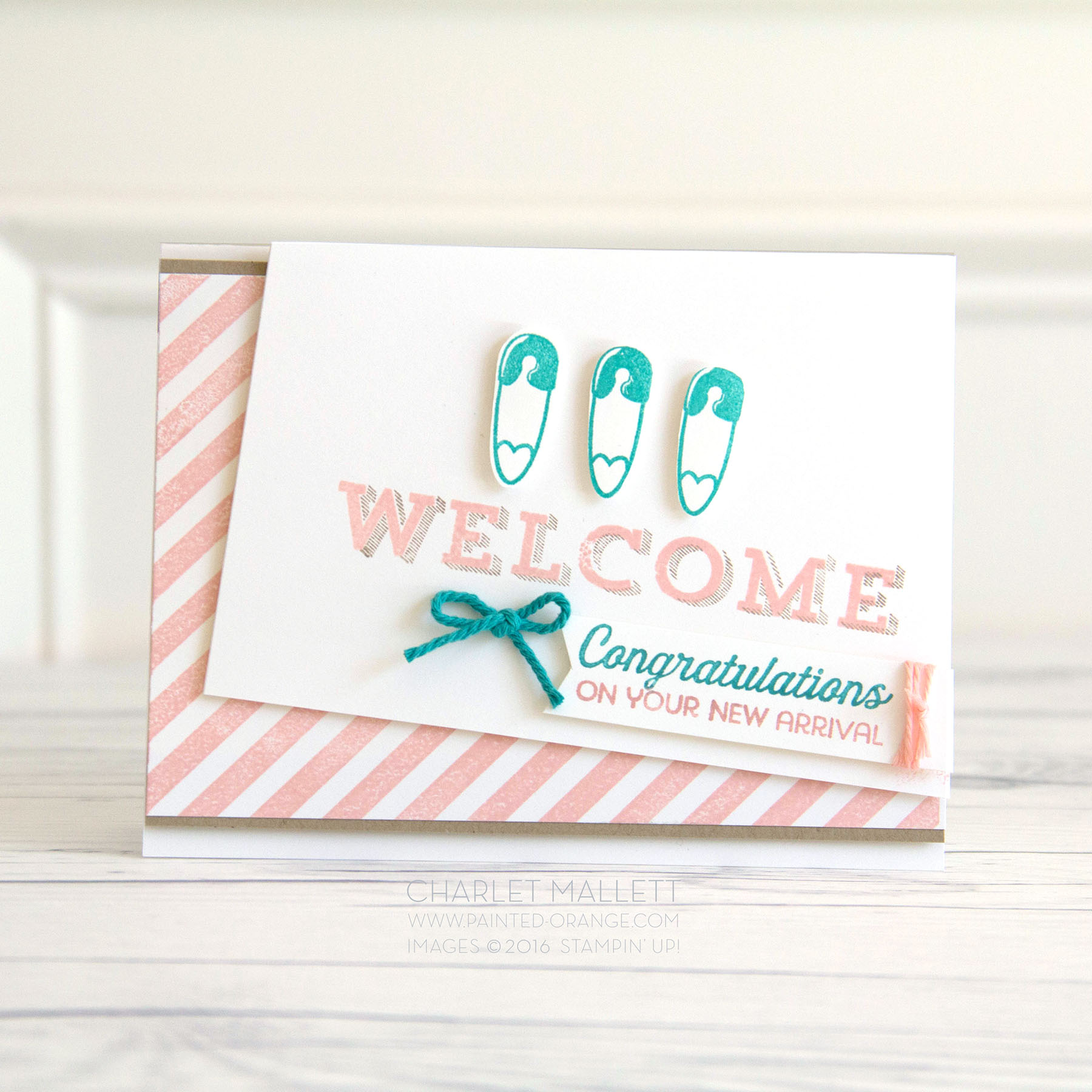 WELCOME baby card using Better Together, Diagonal Stripe and Vertical Garden stamp sets. Stampin' Up! Charlet Mallett - www.painted-orange.com