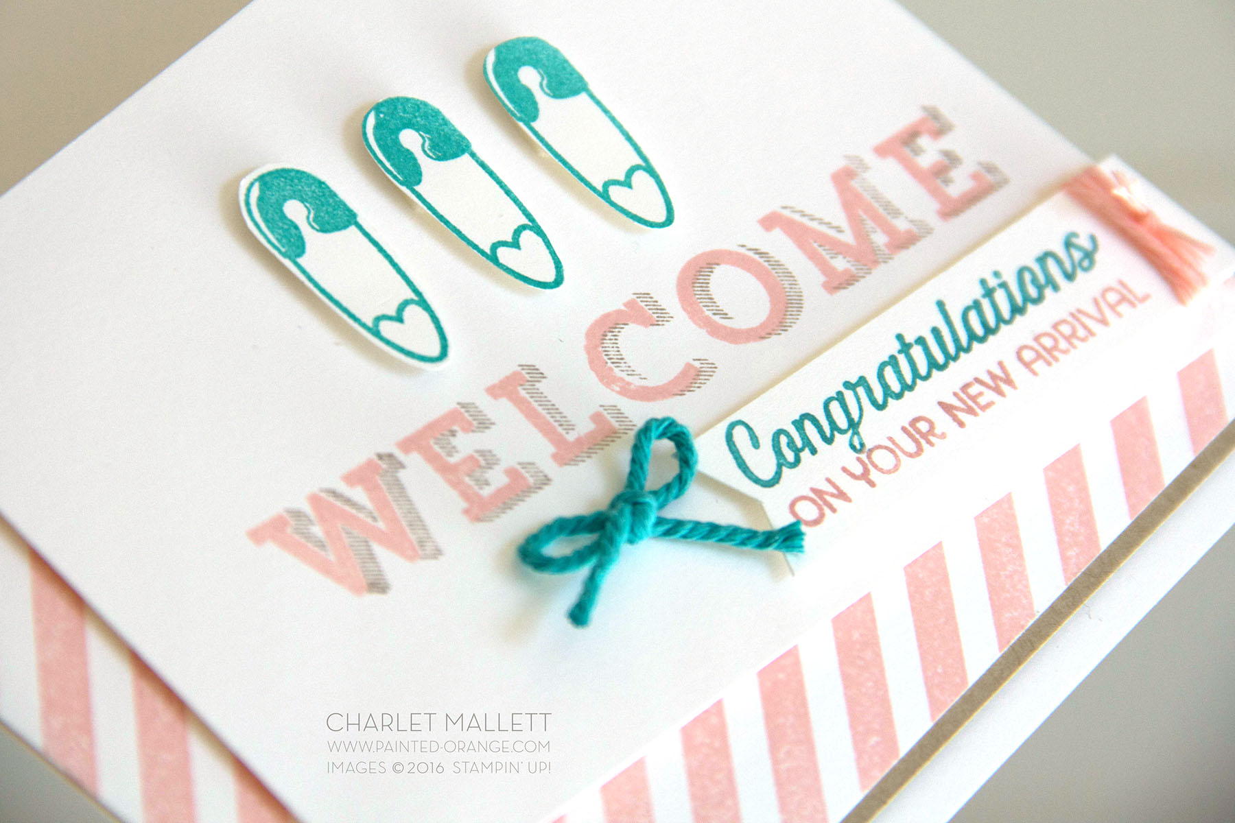 Detail view of WELCOME baby card using Better Together, Diagonal Stripe and Vertical Garden stamp sets. Stampin' Up! Charlet Mallett - www.painted-orange.com