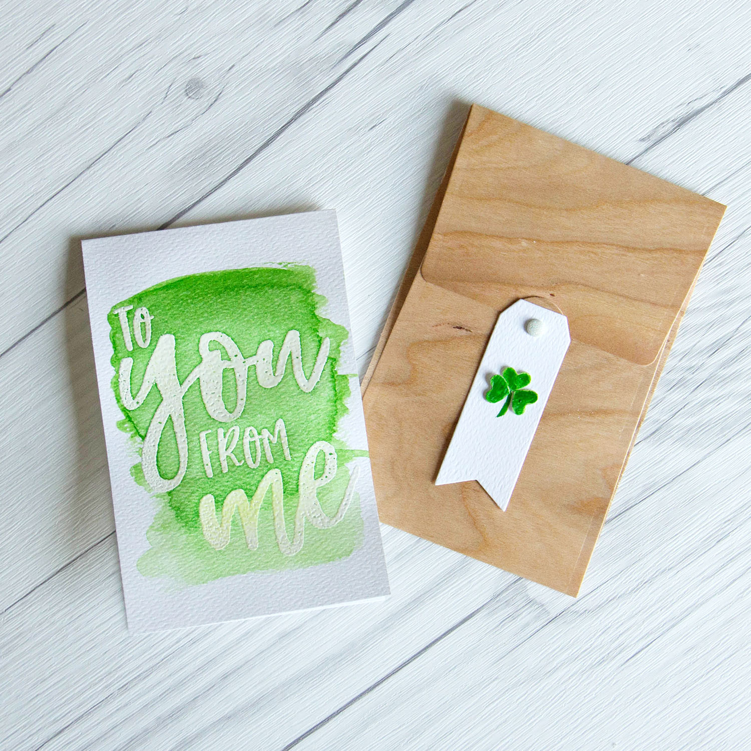 You & Me card with wood paper envelope