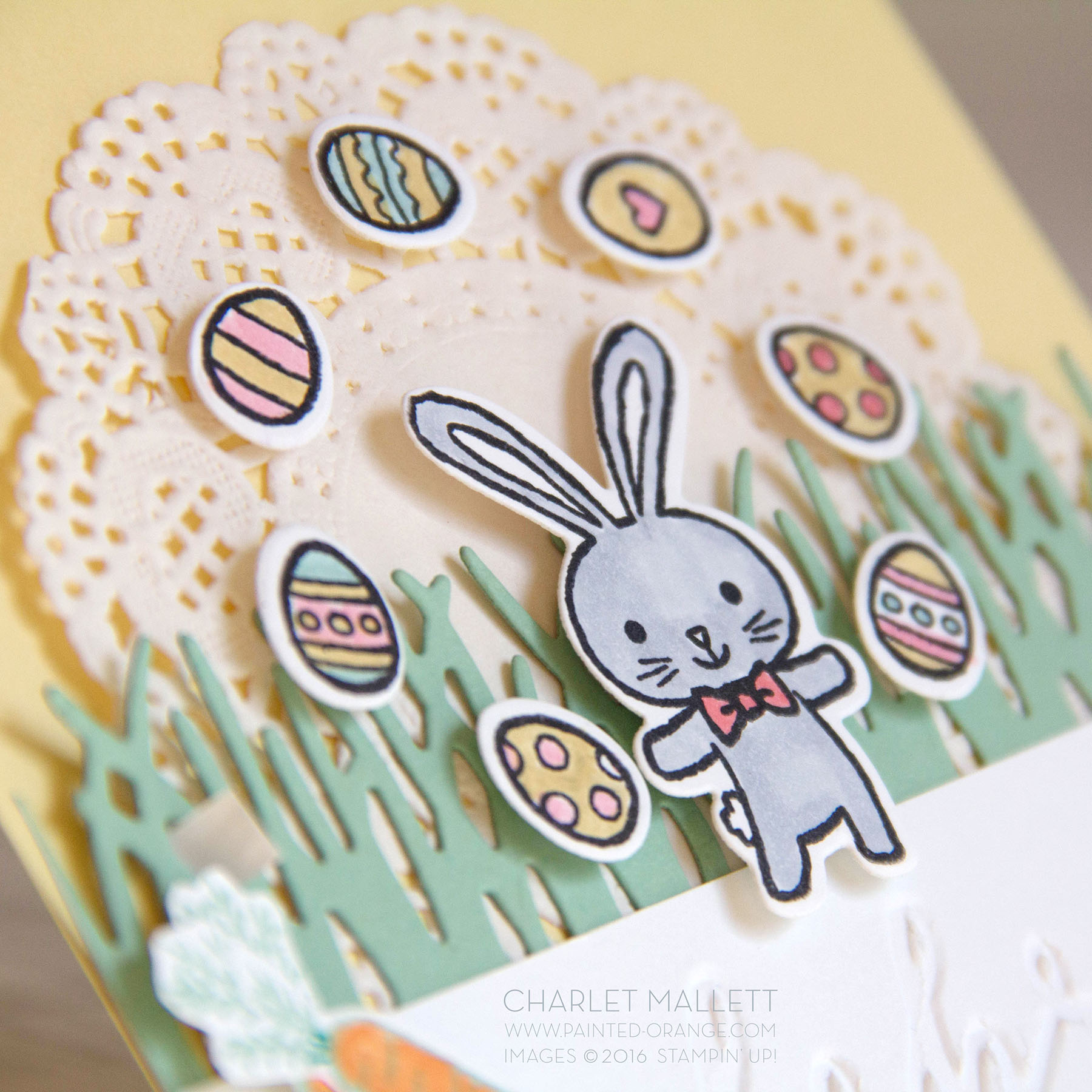 Detail view of juggling bunny.Celebrate Easter Card using the Basket Bunch Stamp set from Stampin' Up! Charlet Mallett
