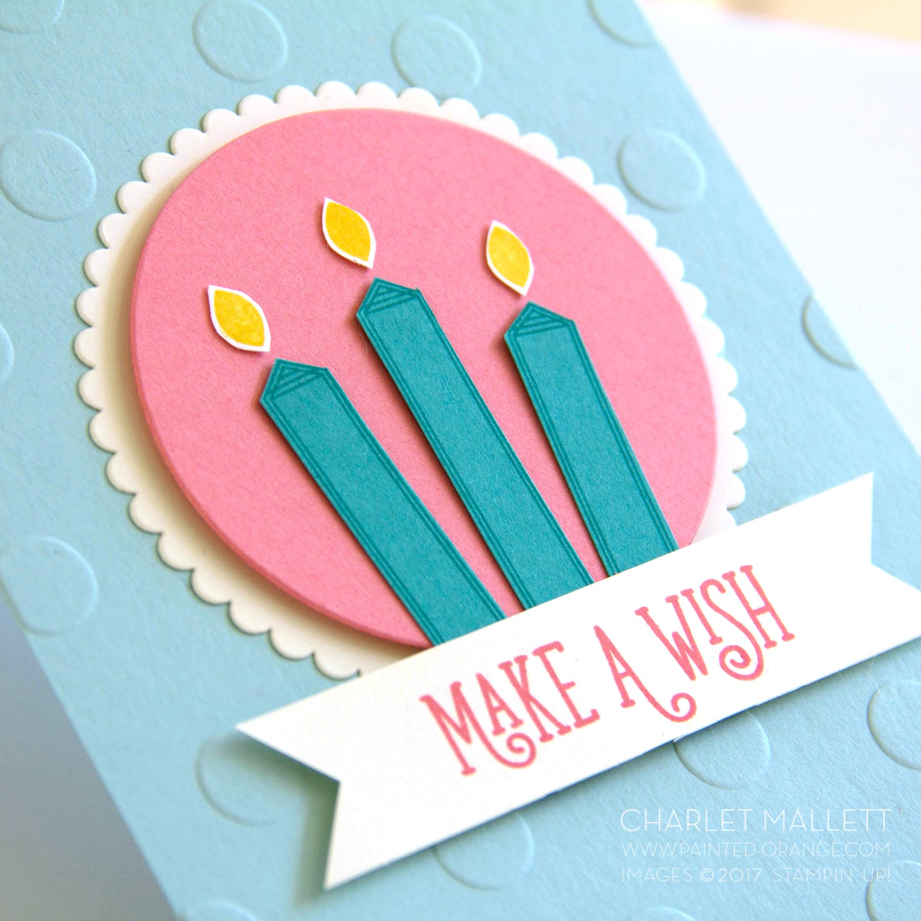 Happy Birthday Gorgeous - Charlet Mallett, create large candles with the label and petal stamp images.