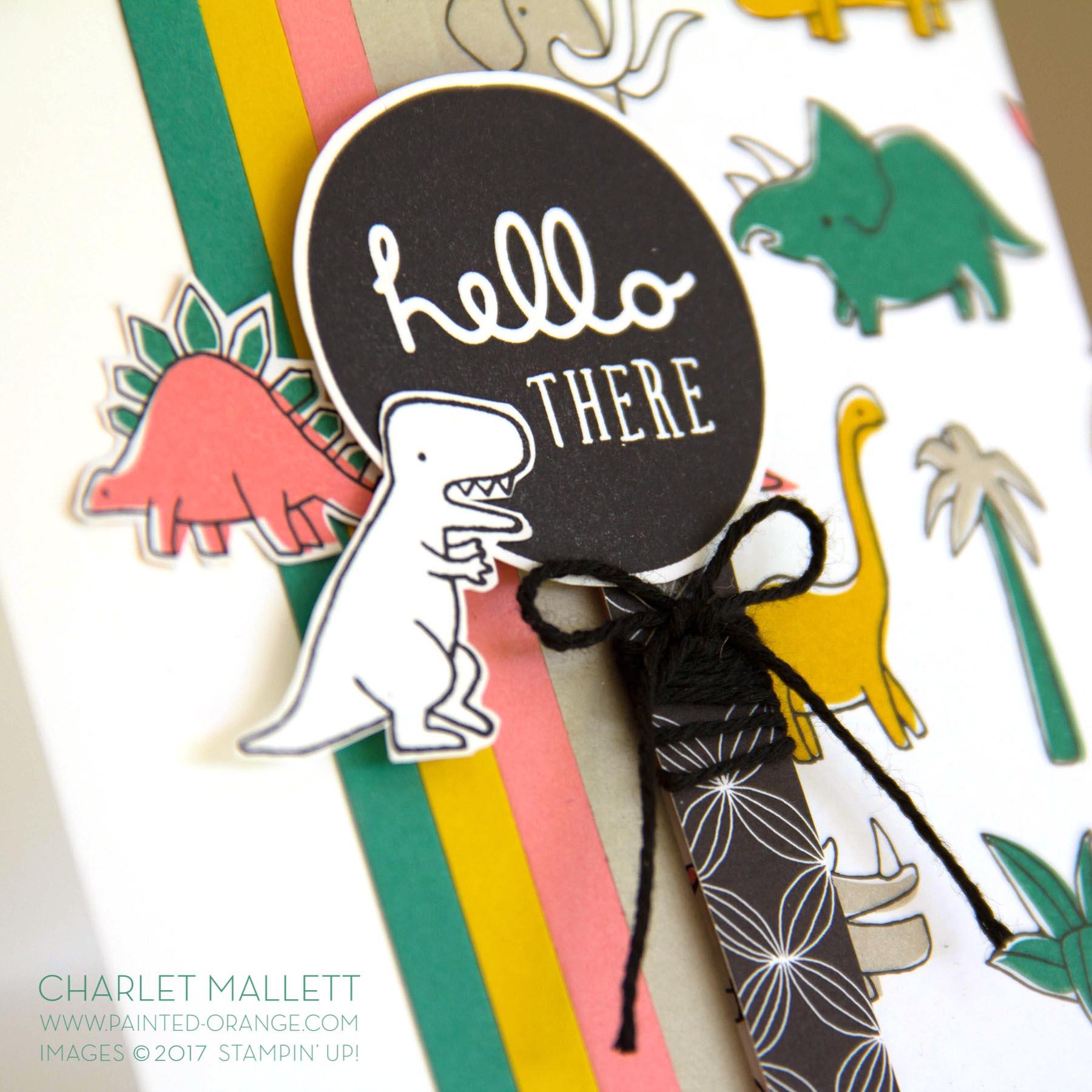 Pieces & Patterns, Pick a Pattern - Dinosaur Hello card - Charlet Mallett, Stampin' Up!