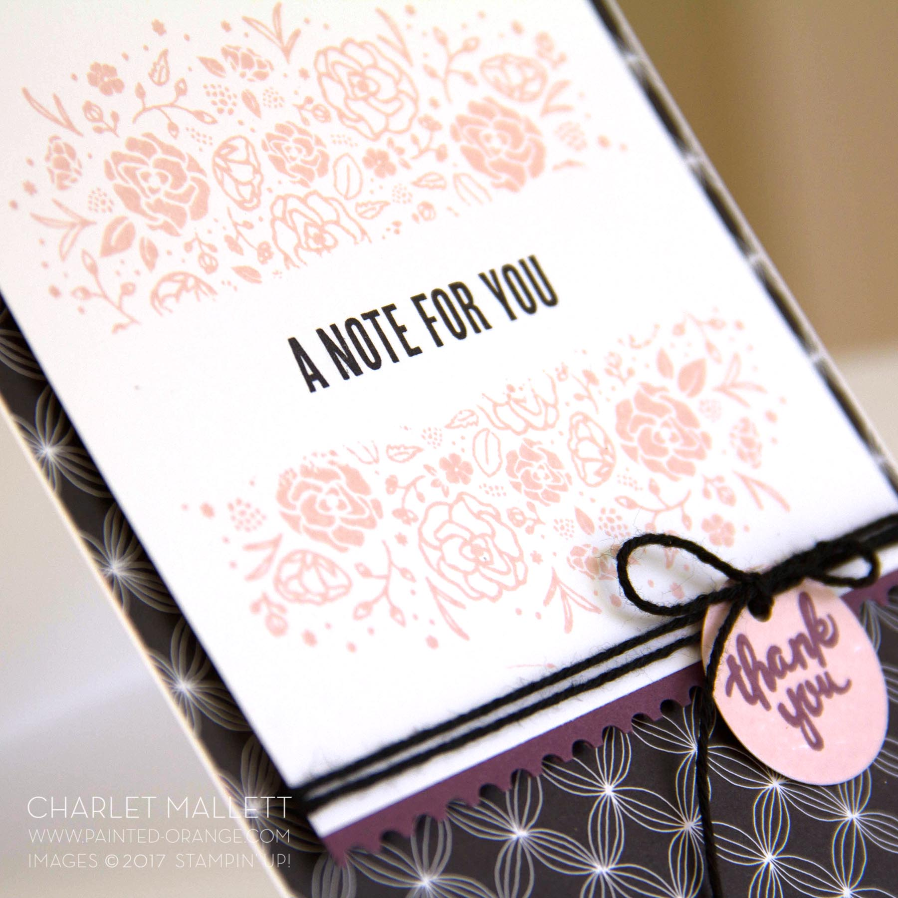 Wood Words - A Note For You card, Charlet Mallett - Stampin' Up! Ticket Tear border bunch.