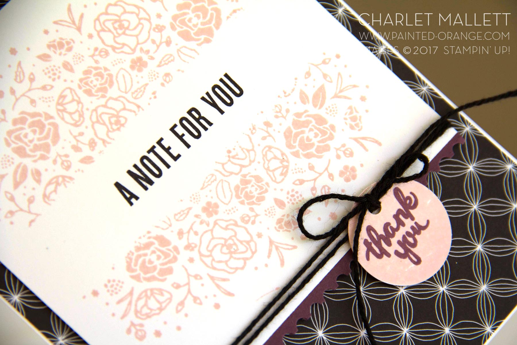 Wood Words - A Note For You card, Charlet Mallett - Stampin' Up! Use washi tape to mask out areas you want to omit when stamping.