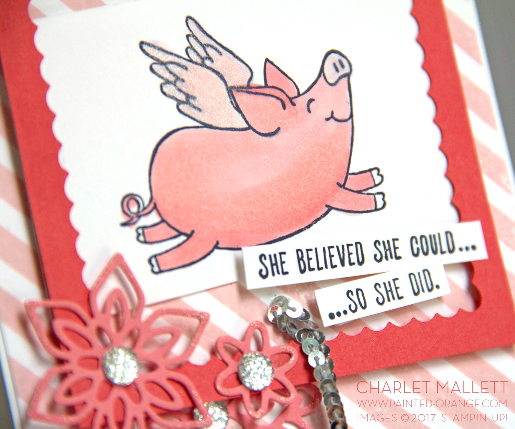 This Little Piggy Card - Charlet Mallett, Stampin' Up! - A little Wink of Stella makes the pig wings sparkle!