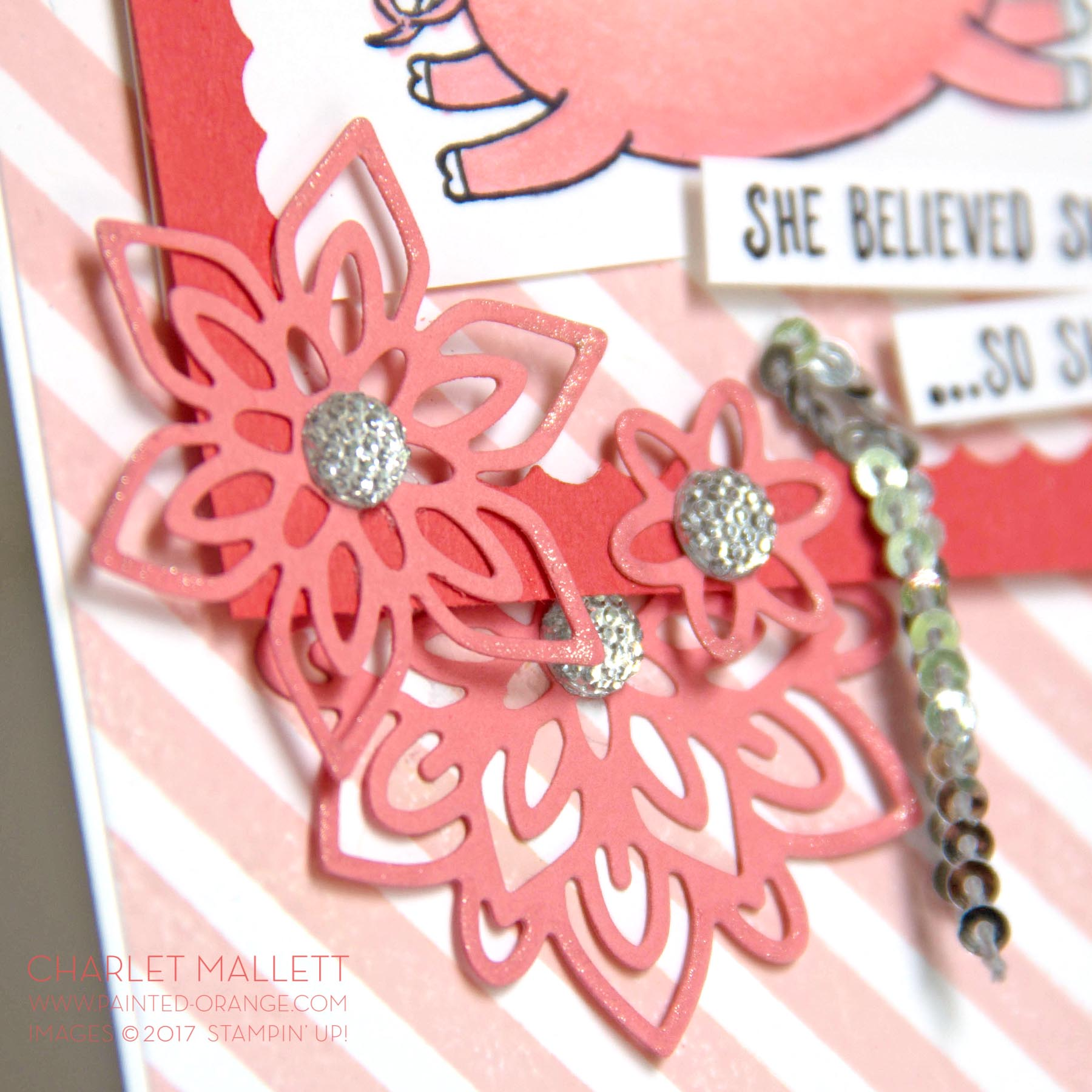 This Little Piggy Card - Charlet Mallett, Stampin' Up! - Faceted Gems, Wink of Stella and mini silver sequins pop up the bling.