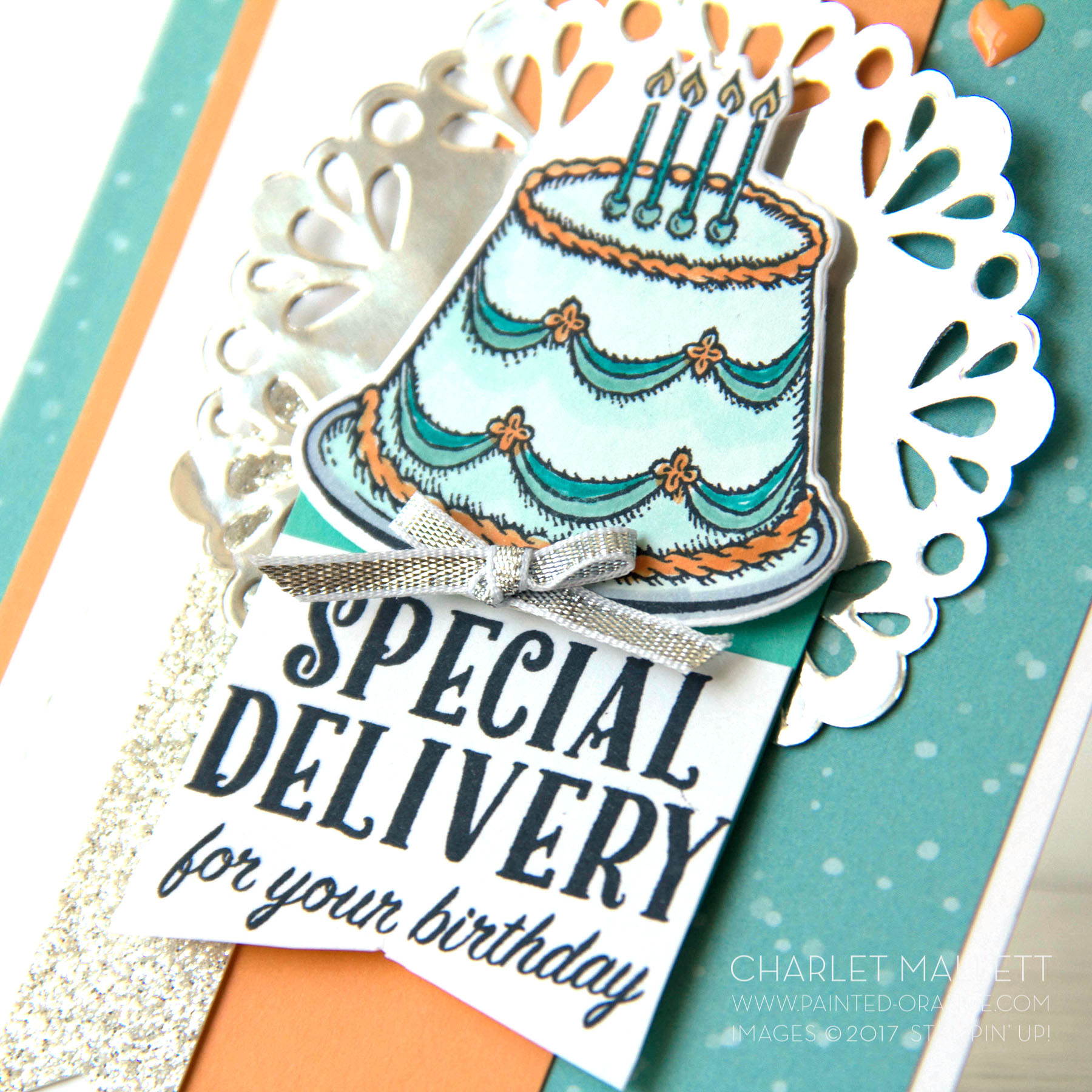 Birthday Delivery Cake Card - Charlet Mallett Stampin' Up!
