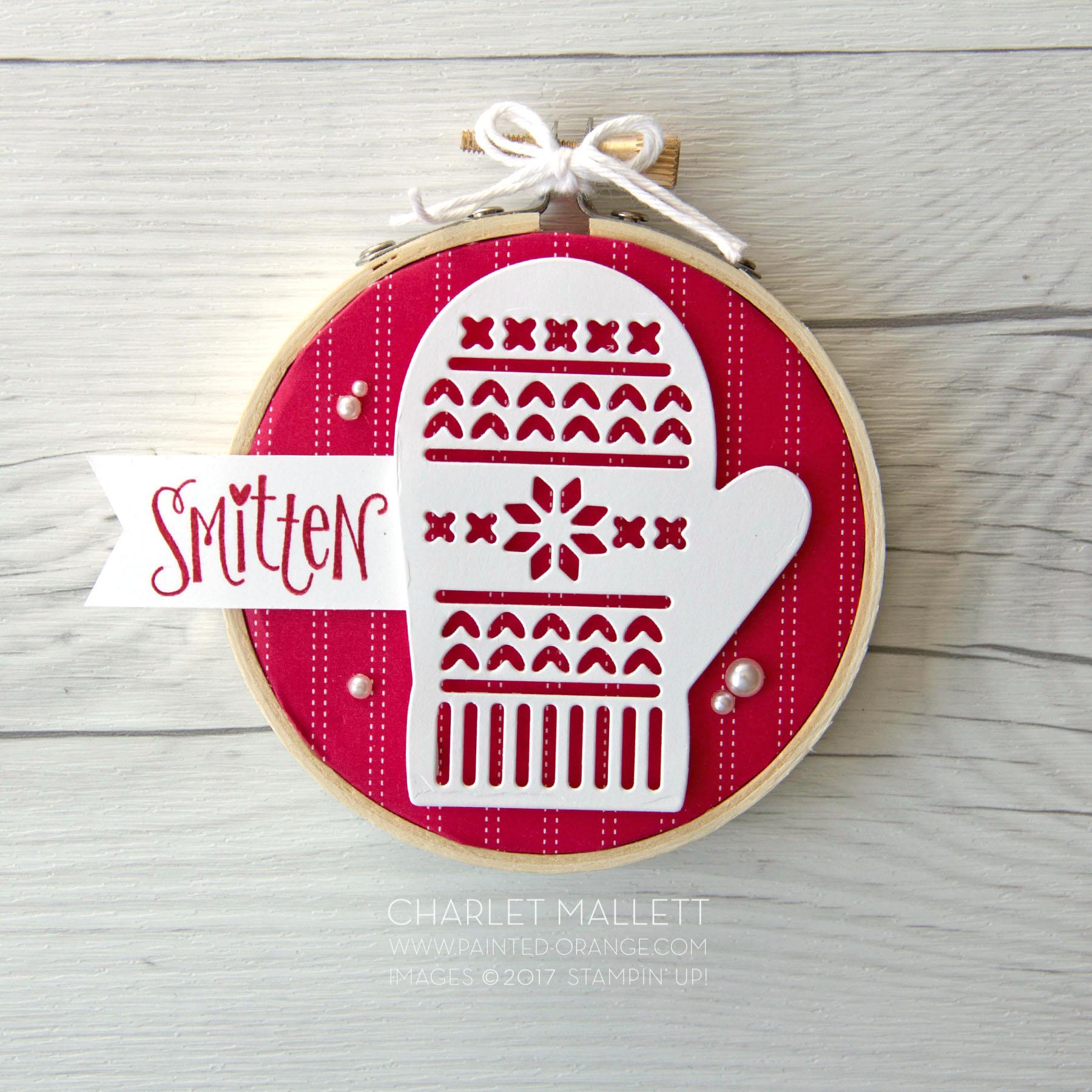 Smitten Mitten Faux cross Stitch Ornament. Charlet Mallett - Stampin' Up!