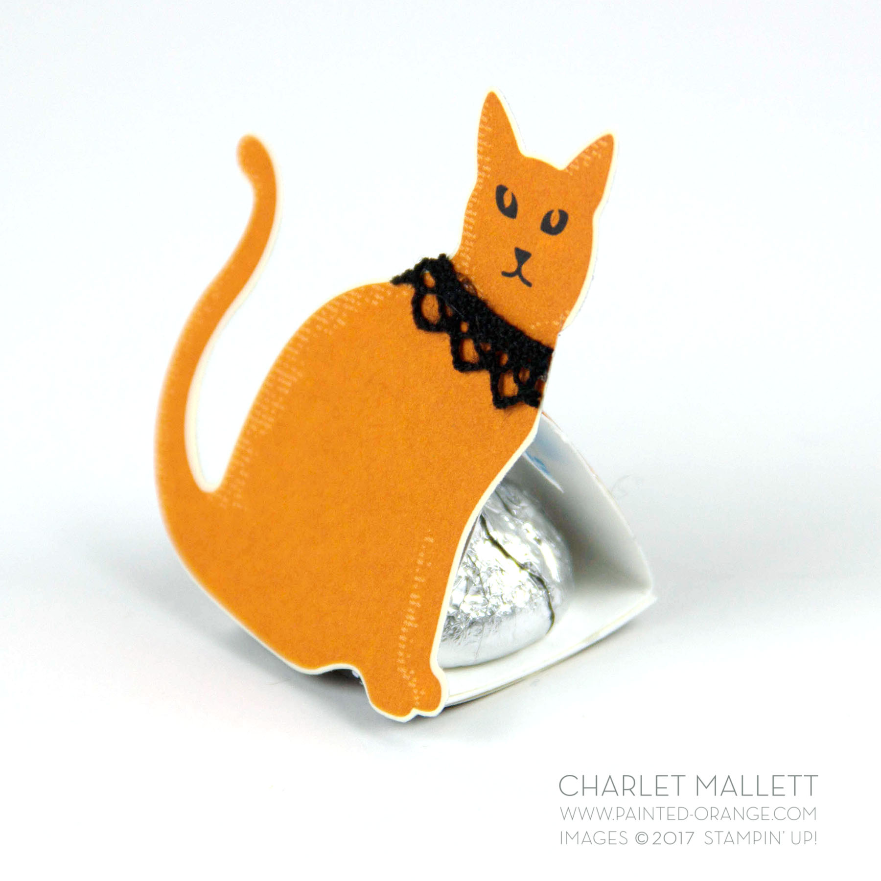 Halloween Hershey Kisses treat packaging using Spooky Cat stamp set and Spooky Night papers. Charlet Mallett - Stampin' Up!