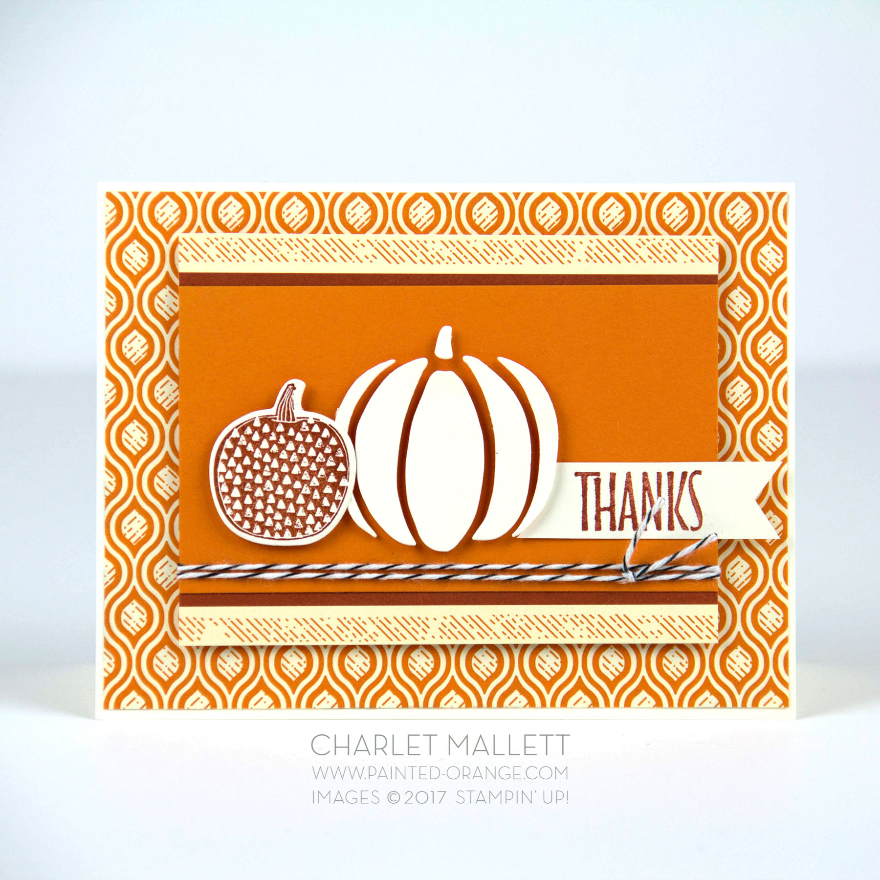 Pick a Pumpkin, white pumpkin thanks card - Charlet Mallett - Stampin' Up!