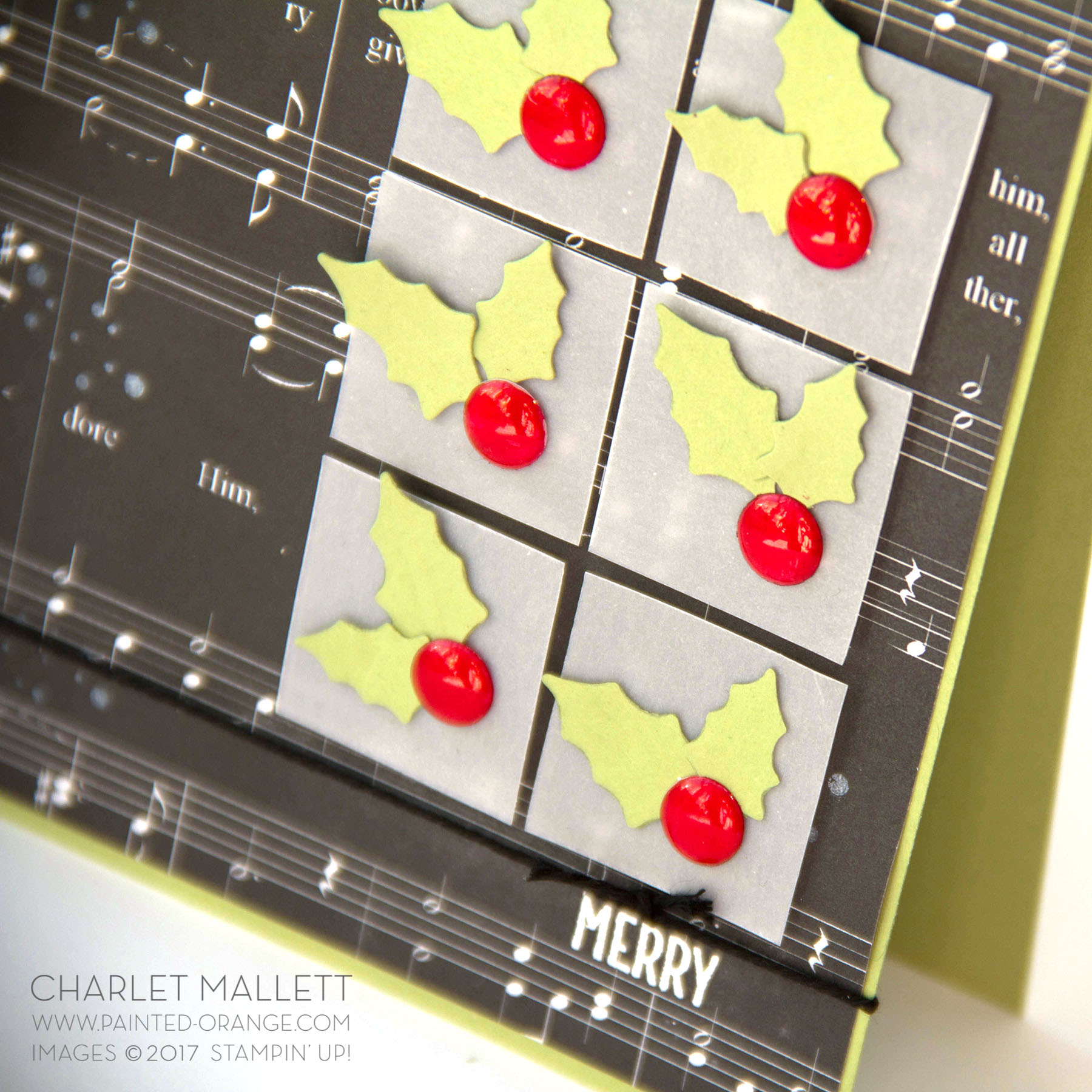 Super shiny red berries created with a Cherry Stampin' Blend marker and white Perfect Accents.