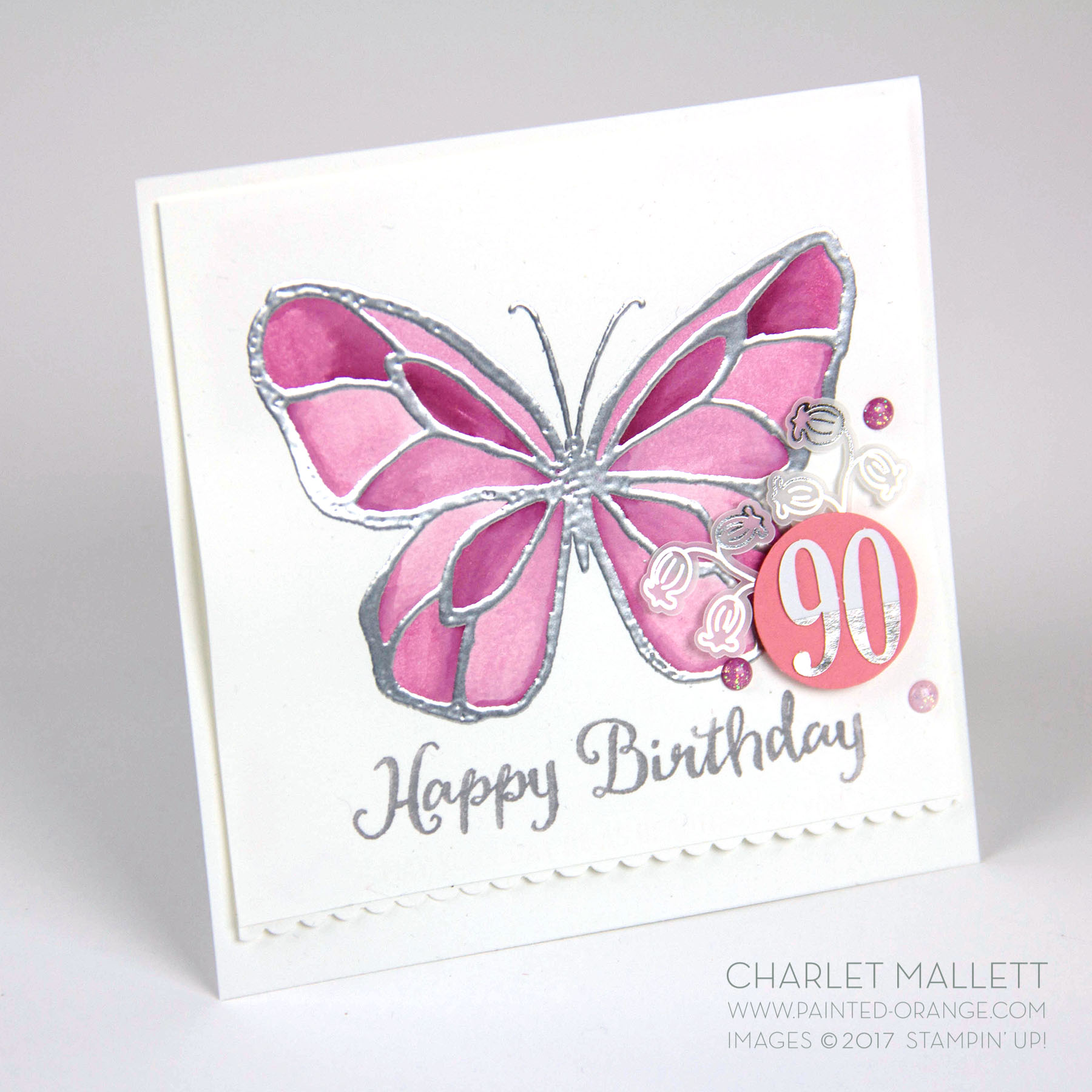 Beautiful Day 90th Birthday card - Charlet Mallett, Stampin' Up! Occasions 2018
