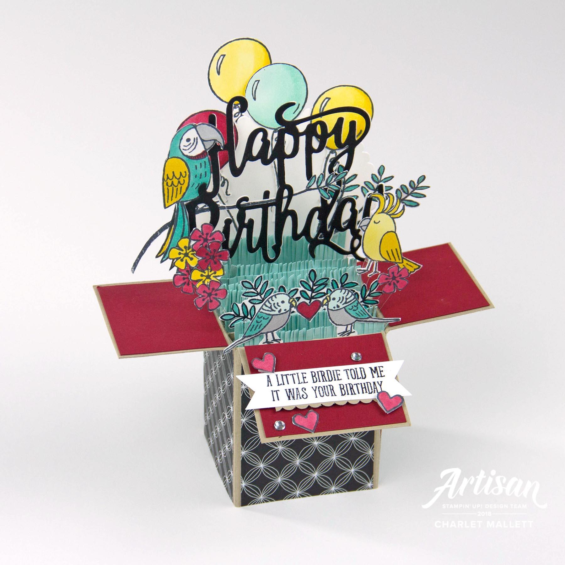 Bird Banter Card in a Box - Charlet Mallett, Stampin' Up!