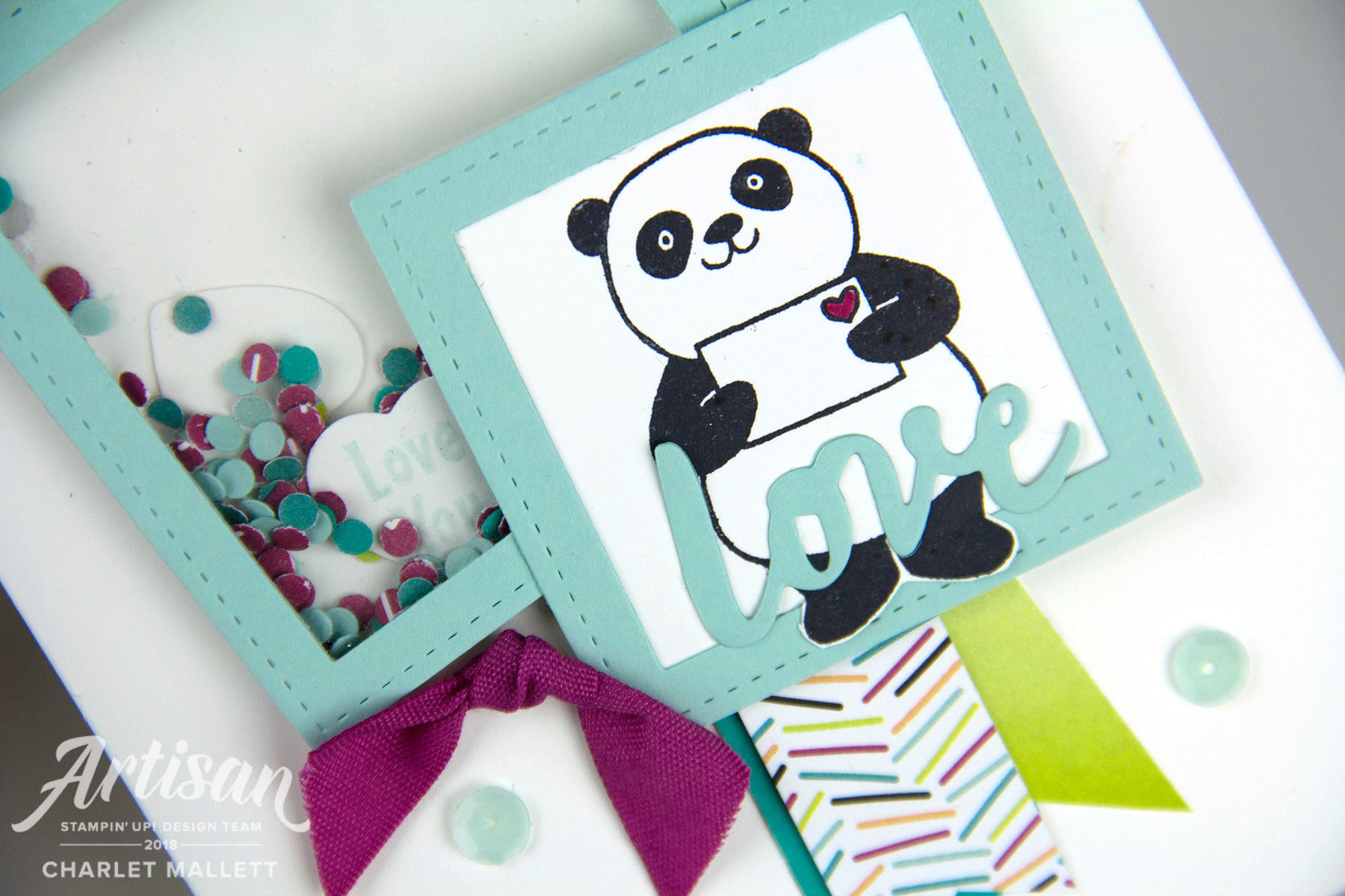 Party Pandas Shaker card - Charlet Mallett, Stampin' Up!