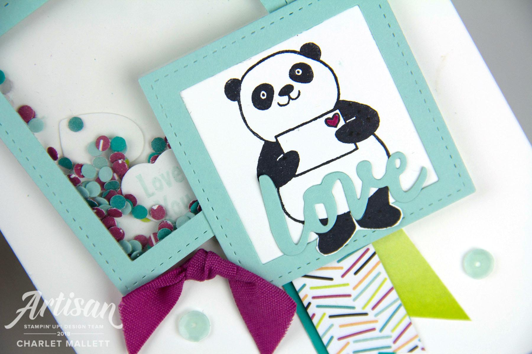 Party Pandas Shaker card - Charlet Mallett, Stampin' Up!