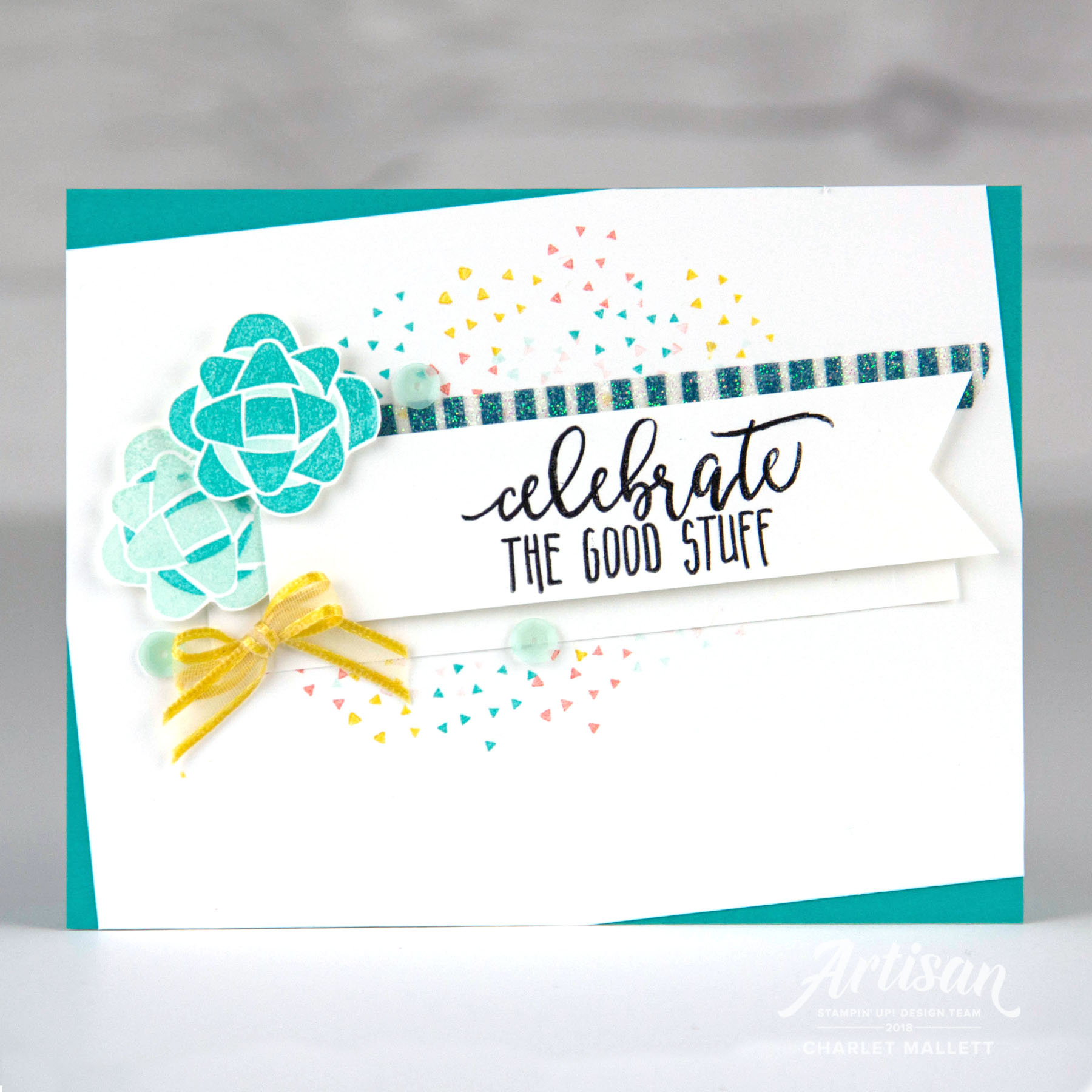 'Celebrate the Good Stuff'birthday card uses the Picture Perfect Birthday stamp set. Charlet Mallett - Stampin' Up!