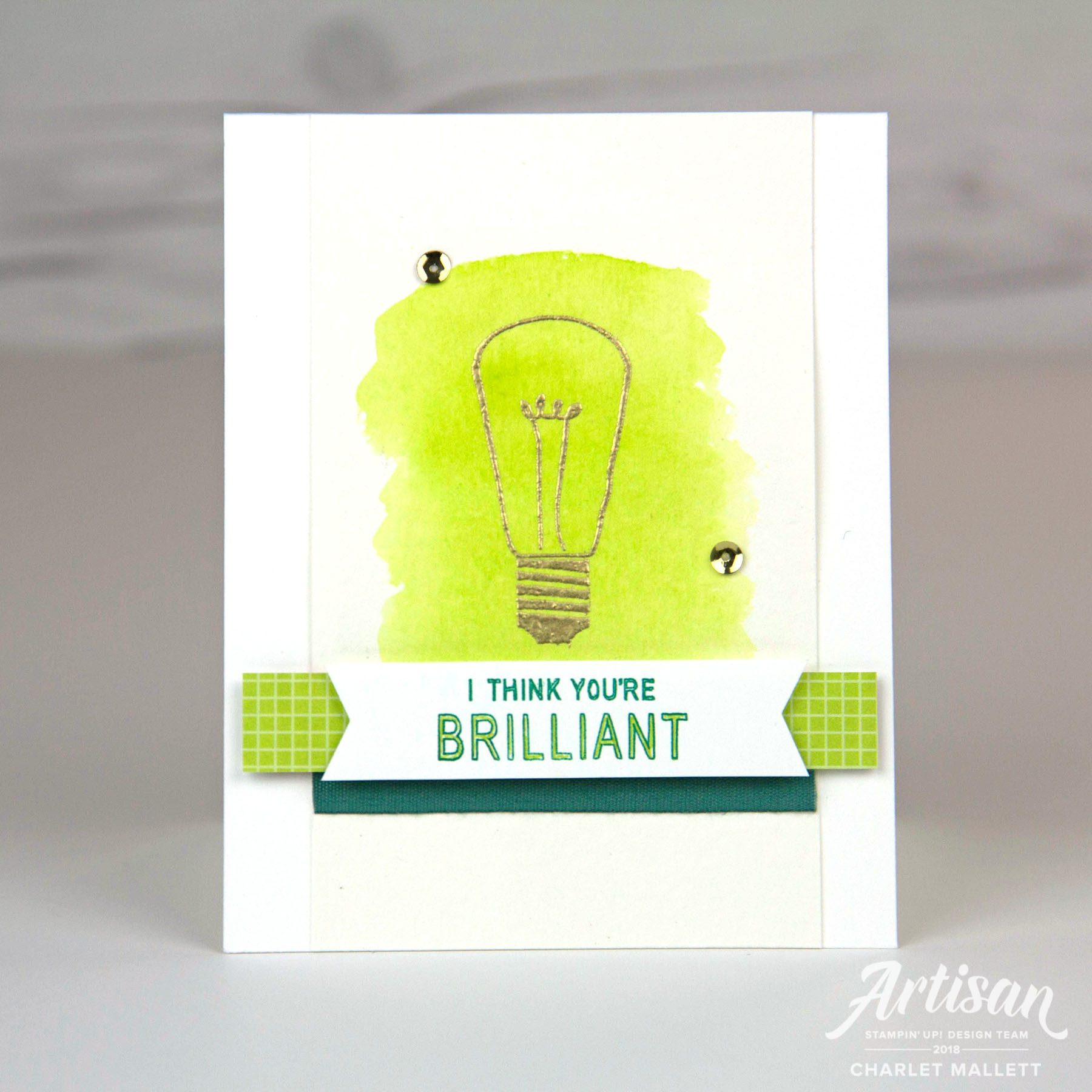 Watts of Occasions - Charlet Mallett - Stampin' Up! Lightbulb I think You're Brilliant Card