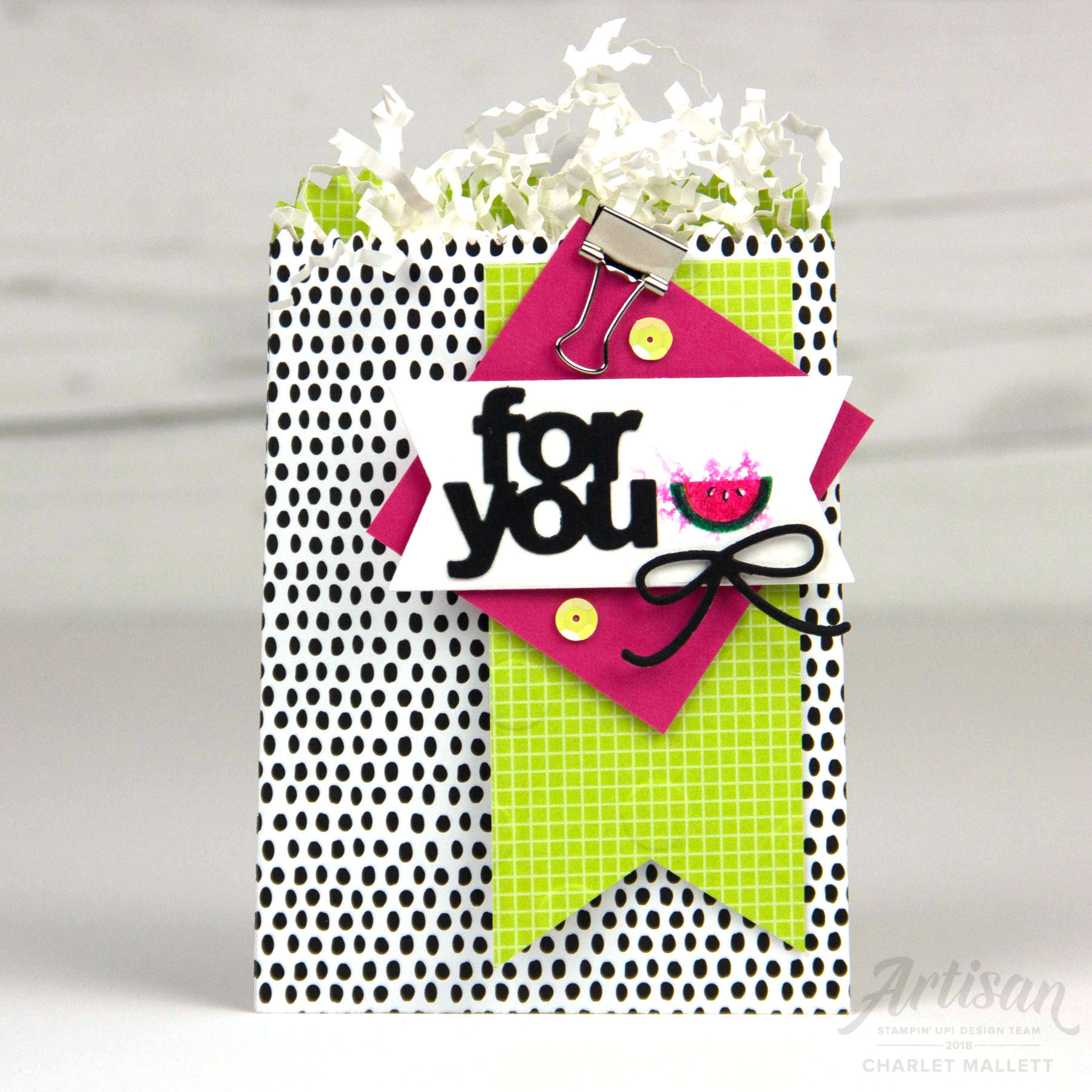 Fruit Basket Watermelon gift bag- Charlet Mallett, Stampin' Up! 2018 Artisan Design Team