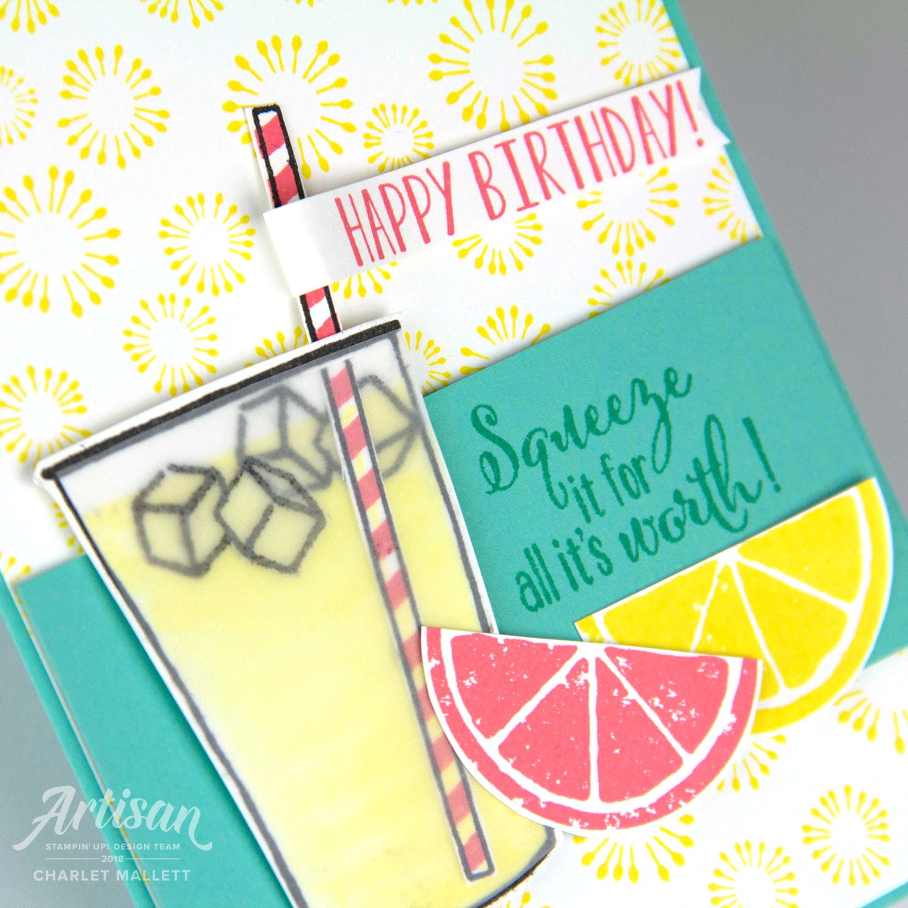 Birthday Backgrounds, Coffee Cafe, Lemon Zest card created for TGIFC165 Inspiration Challenge. Charlet Mallett, Stampin' Up!