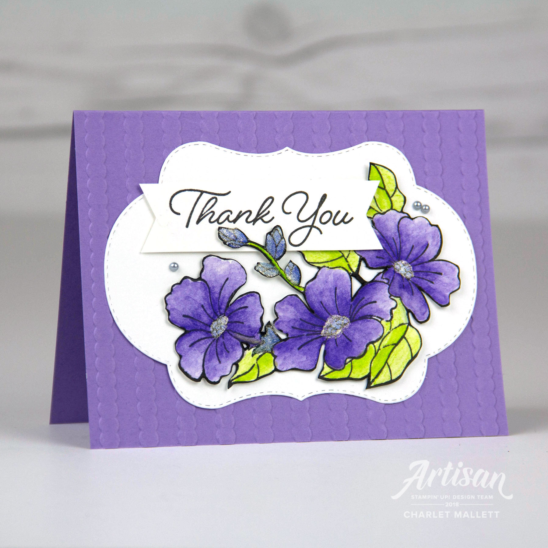 Thank You -Blended Seasons card using Watercolor pencils. Charlet Mallett - Stampin' Up!
