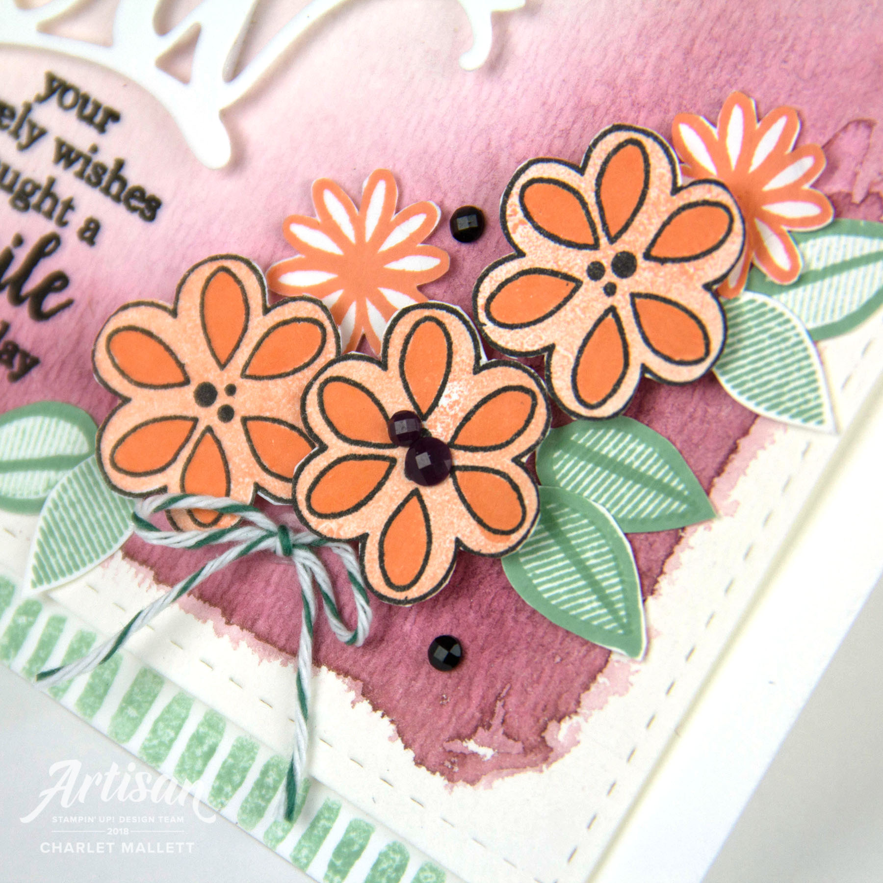 Thank You card created with 'A Big Thank You' stamp set and die. Charlet Mallett, Stampin' Up! #GDP145
