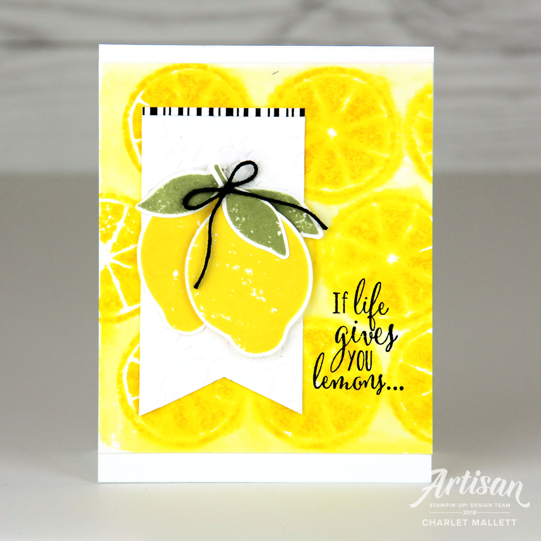 Bright lemonade card using Lemon Zest stamp set - Charlet Mallett, Stampin' Up!