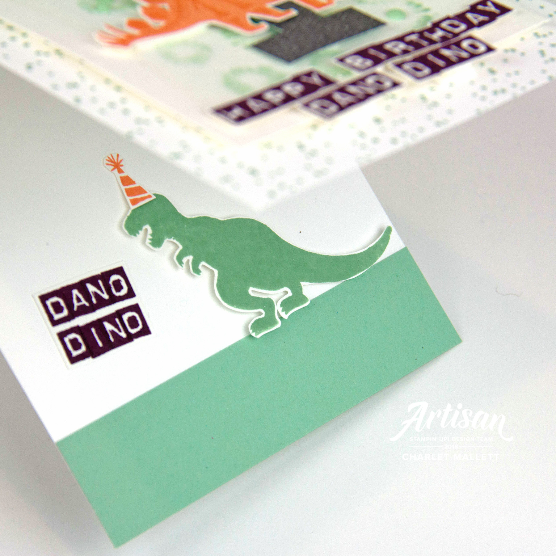 Inside of Dinosaur 1st birthday card using Birthday Backgrounds, Labeler Alphabet and No Bones About It - Stampin' Up! - Charlet Mallett