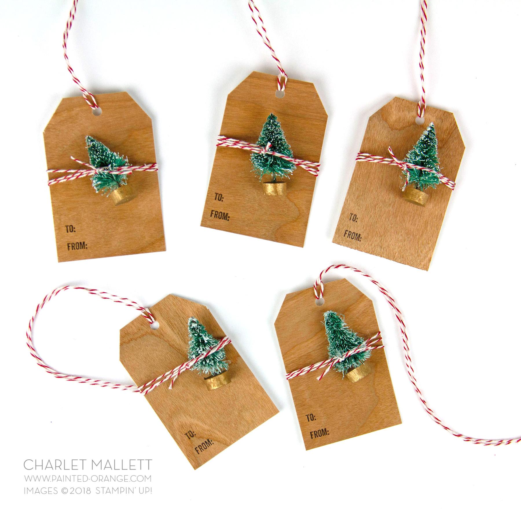 Wood Paper Bottle Brush Tree gift tags - Charlet Mallett