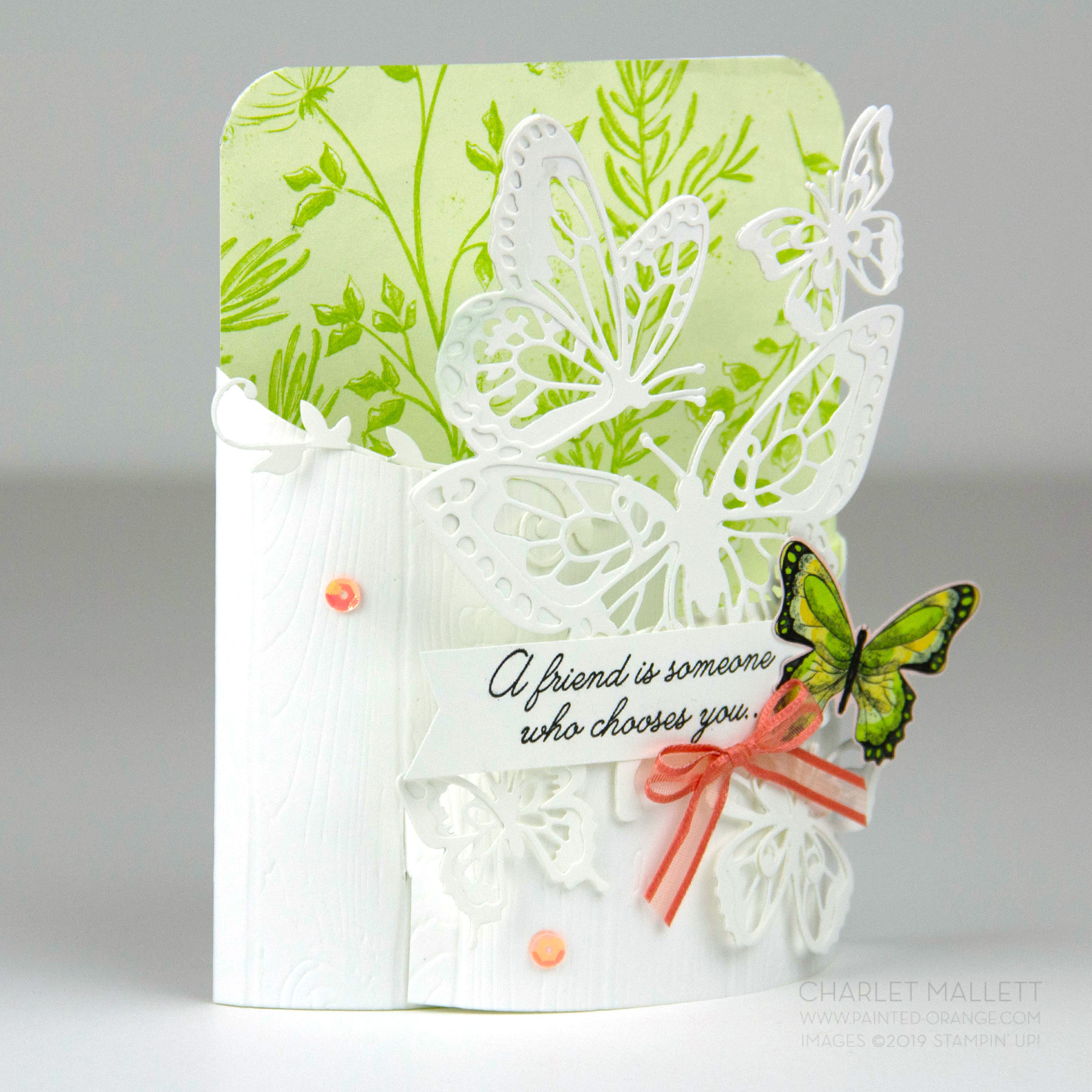Butterfly Bendi - Bendi Card featuring Beauty Abounds and Butterfly Beauty Thinlets. Charlet Mallett, Stampin' Up!