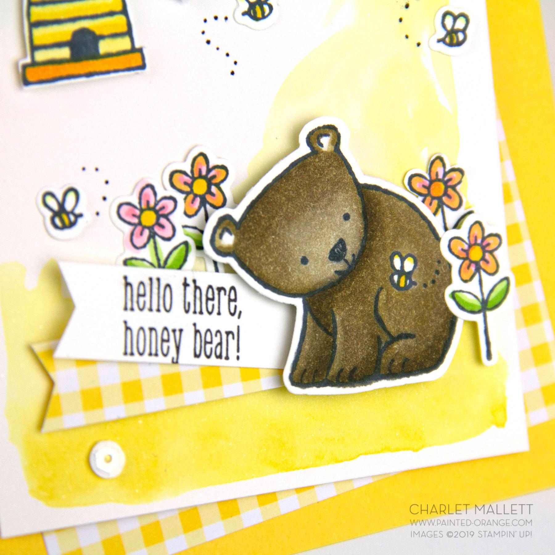 Honey Bear Card using A Little Wild stamp set - Charlet Mallett, Stampin' Up!