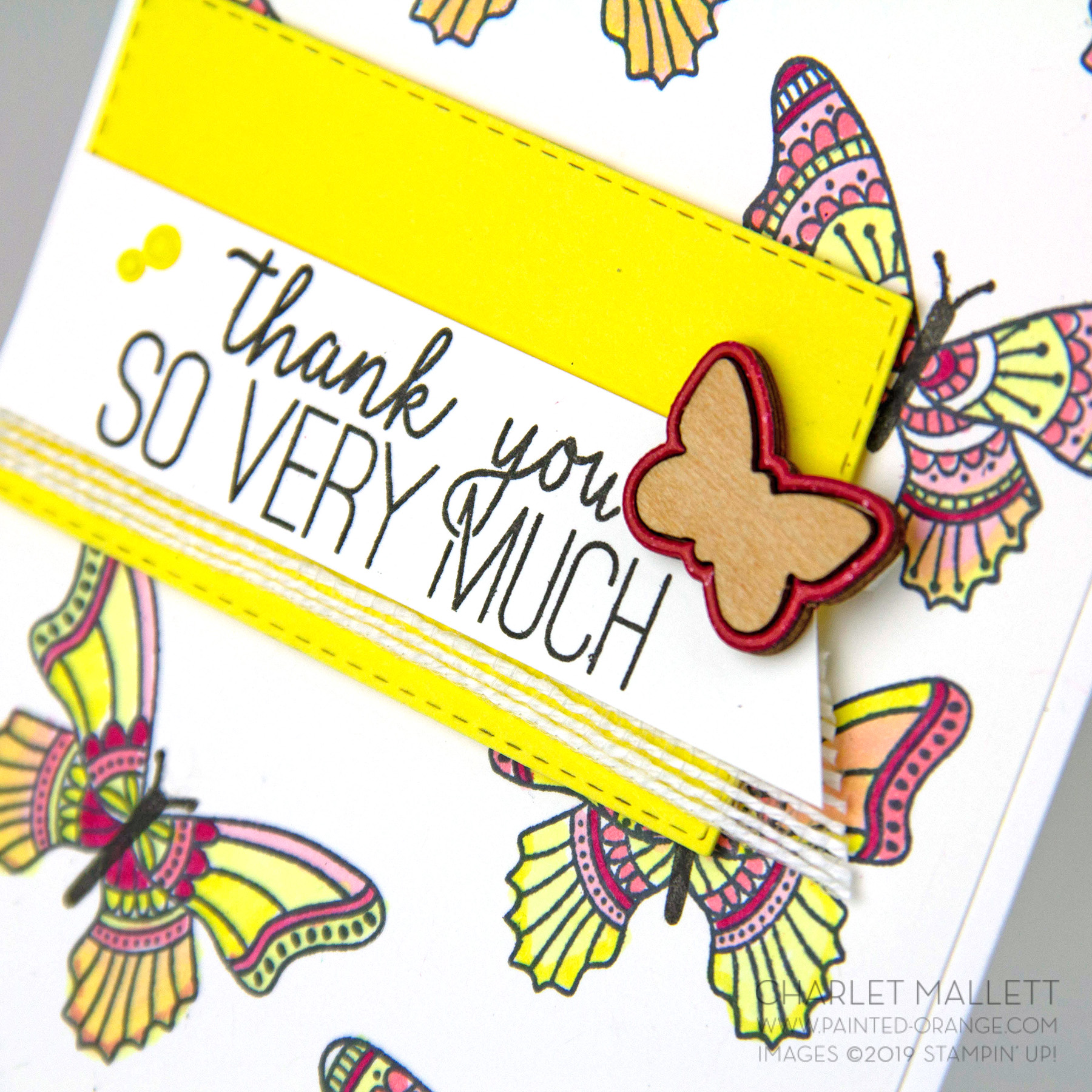 Butterfly Gala Thank You card - Charlet Mallett, Stampin' Up!
