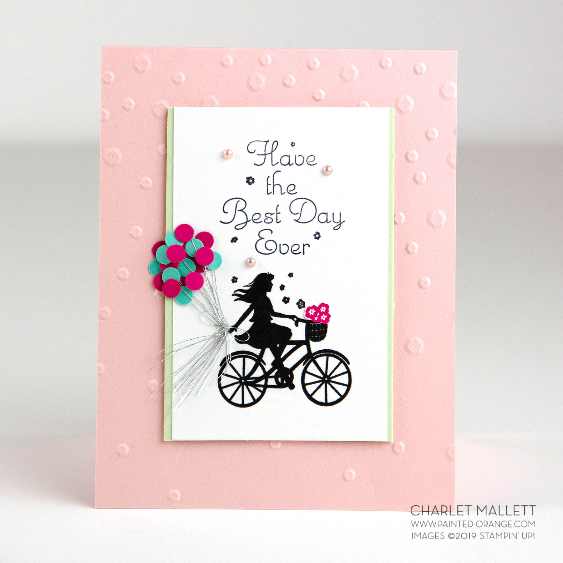 One for All - Girl with Balloons card. Charlet Mallett, Stampin' Up!