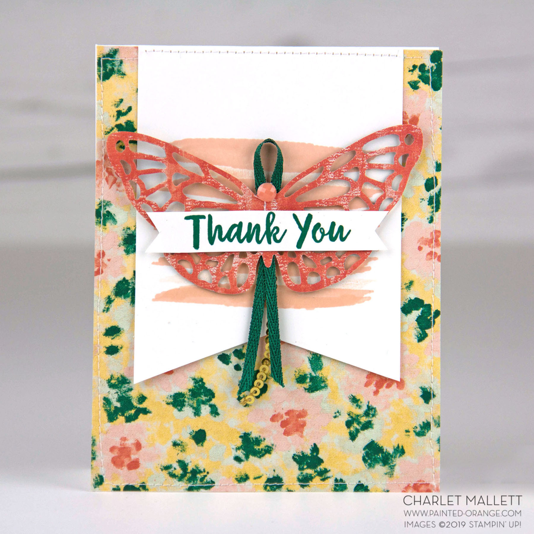 Abstract Impressions Thank You Card - Charlet Mallett, Stampin' Up!