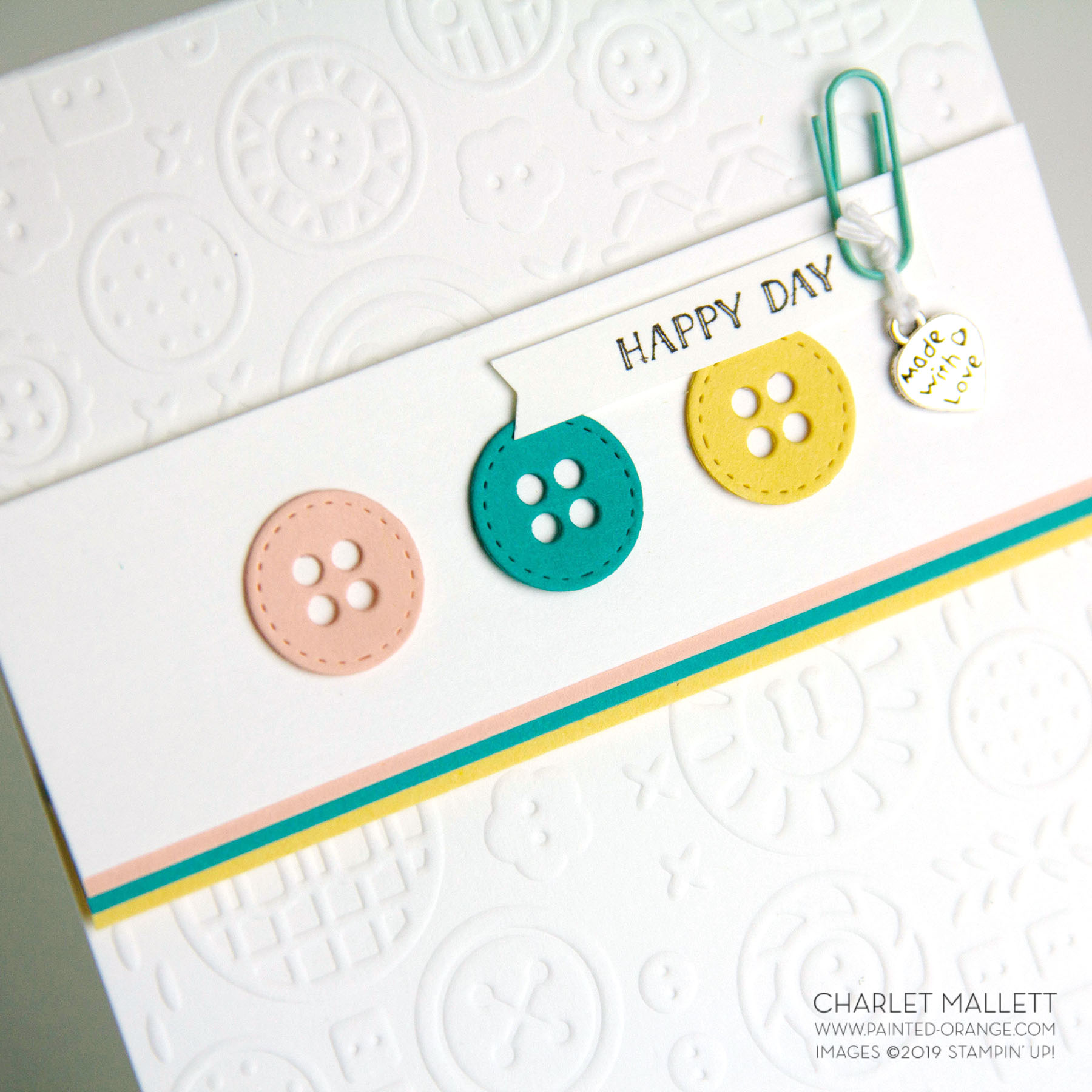 Arts & Crafts Button Button card- Charlet Mallett, Stampin' Up!