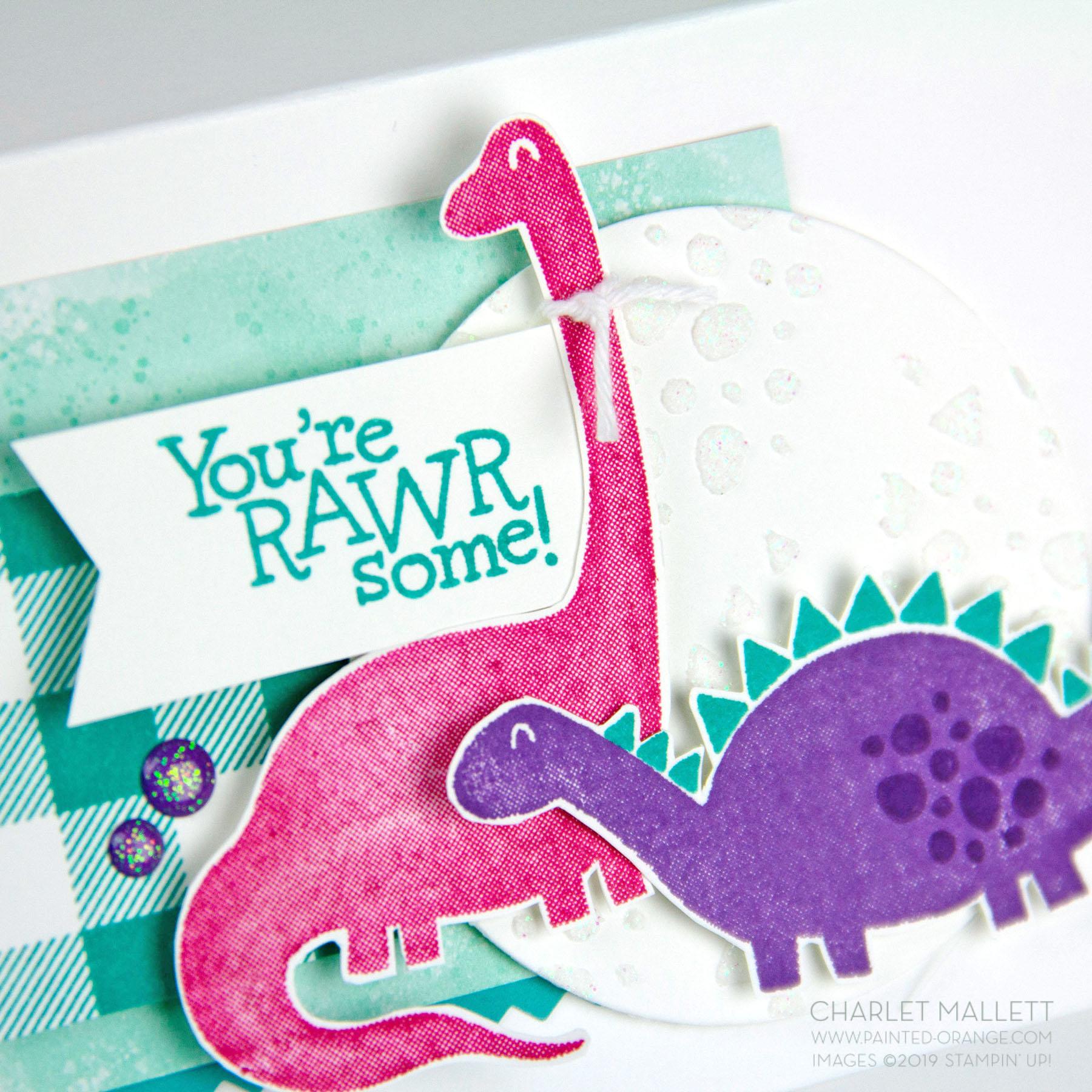 Dino Days - Dinosaur card - Charlet Mallett, Stampin' Up! Dinosaur pun