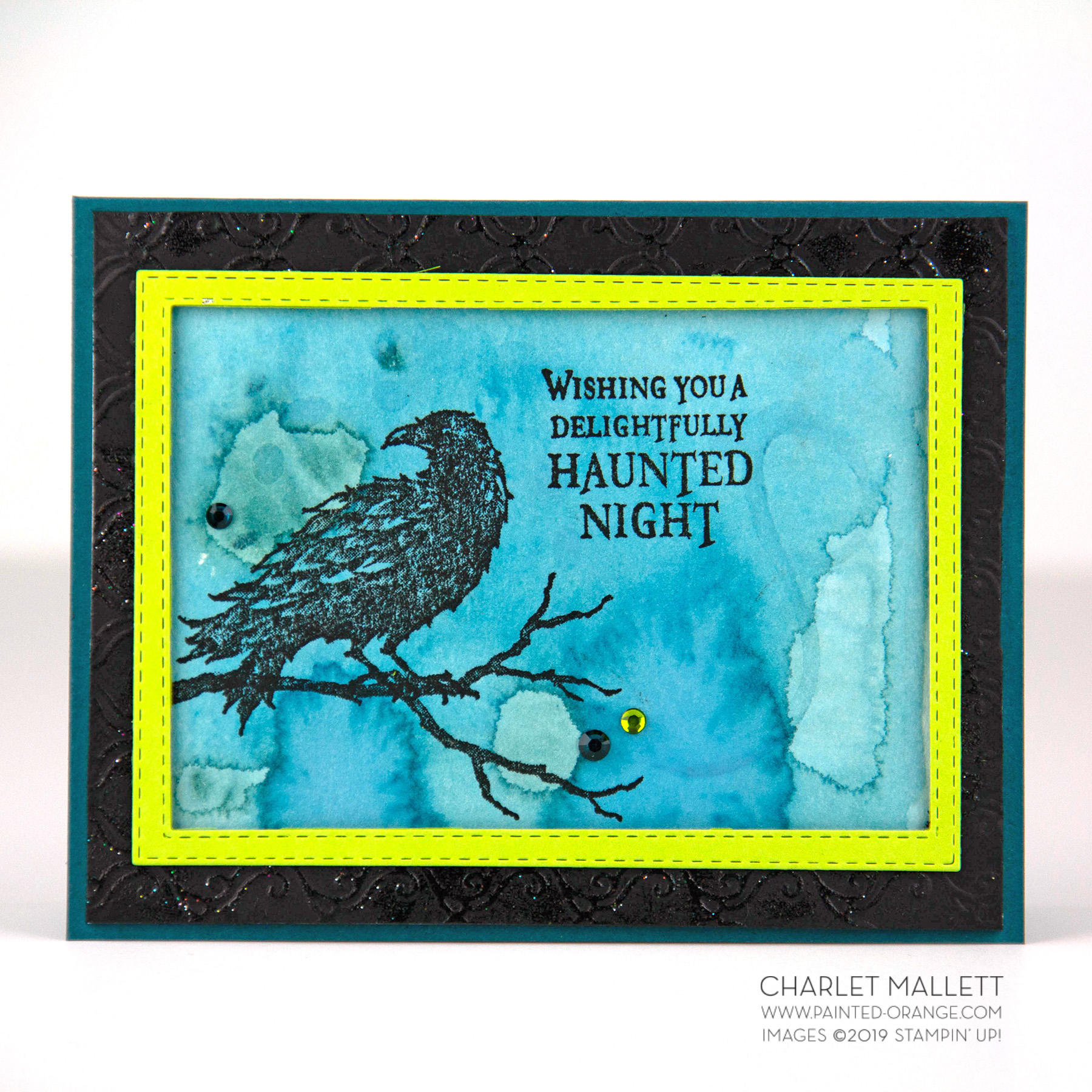 The Raven Halloween card - Charlet Mallett, Stampin' Up!