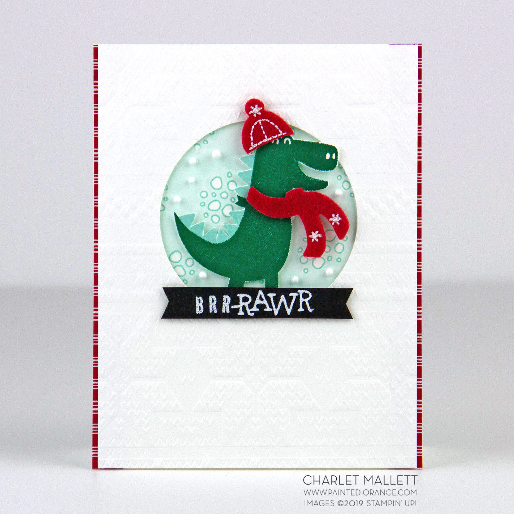 Dino Days Winter Card - Charlet Mallett, Stampin' Up!