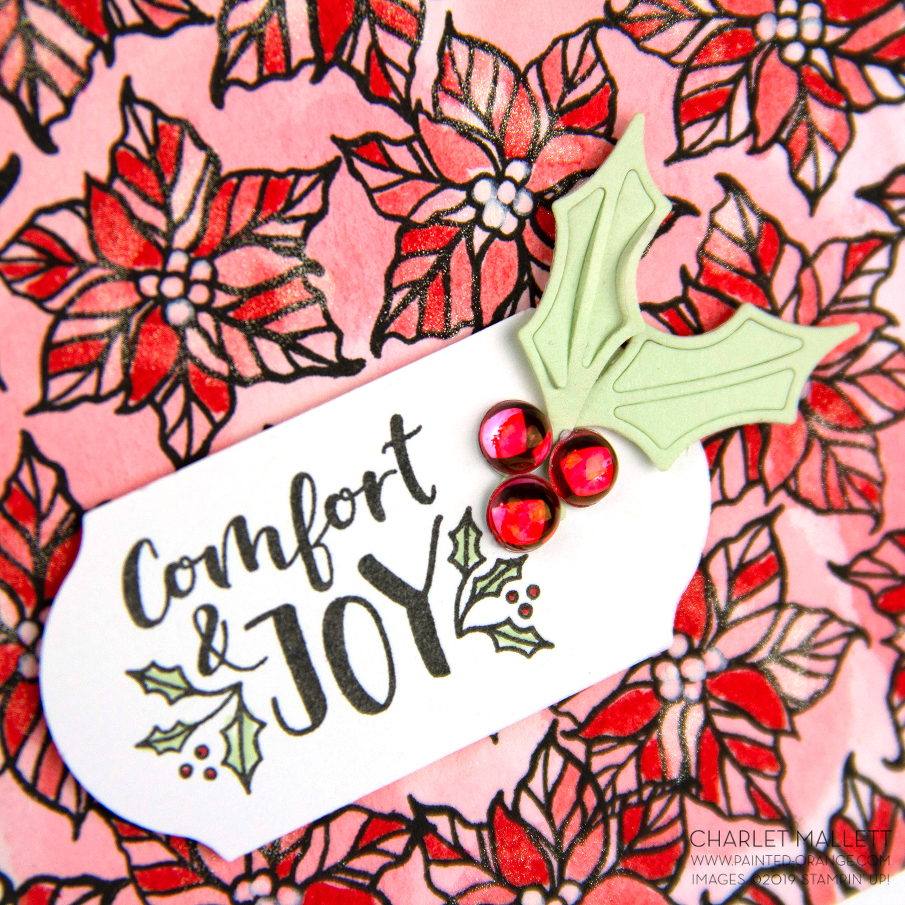 Cup of Christmas Poinsettia card - Charlet Mallett - Stampin' Up!