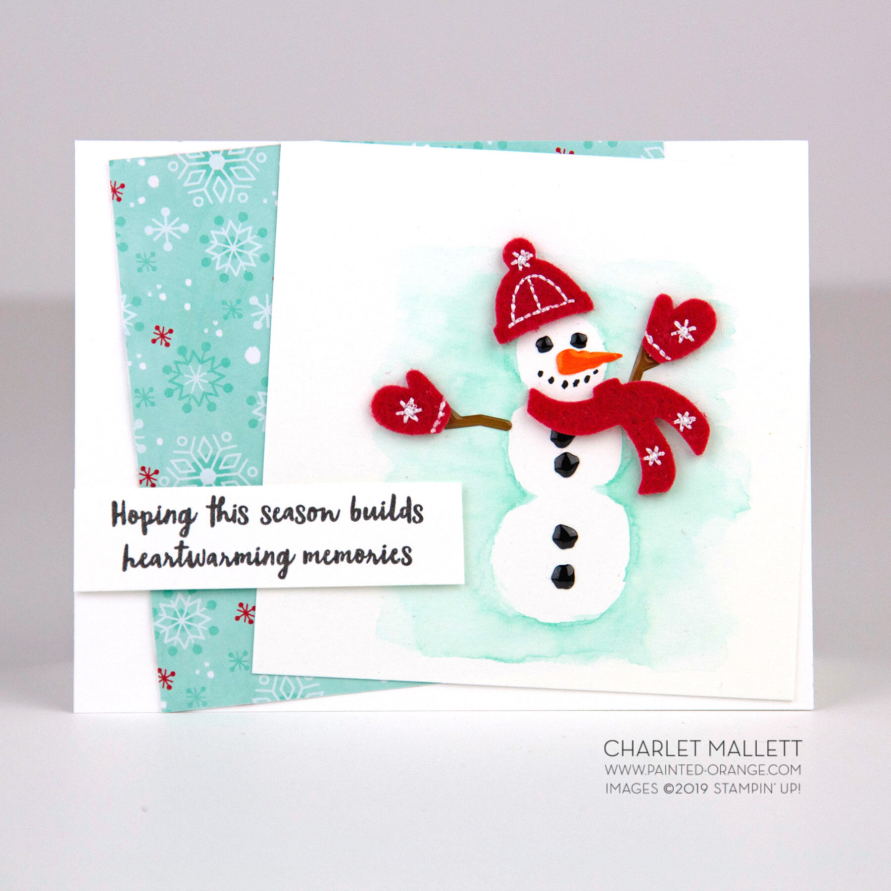 Let it Snow - Snowman card. Charlet Mallett, Stampin' Up!