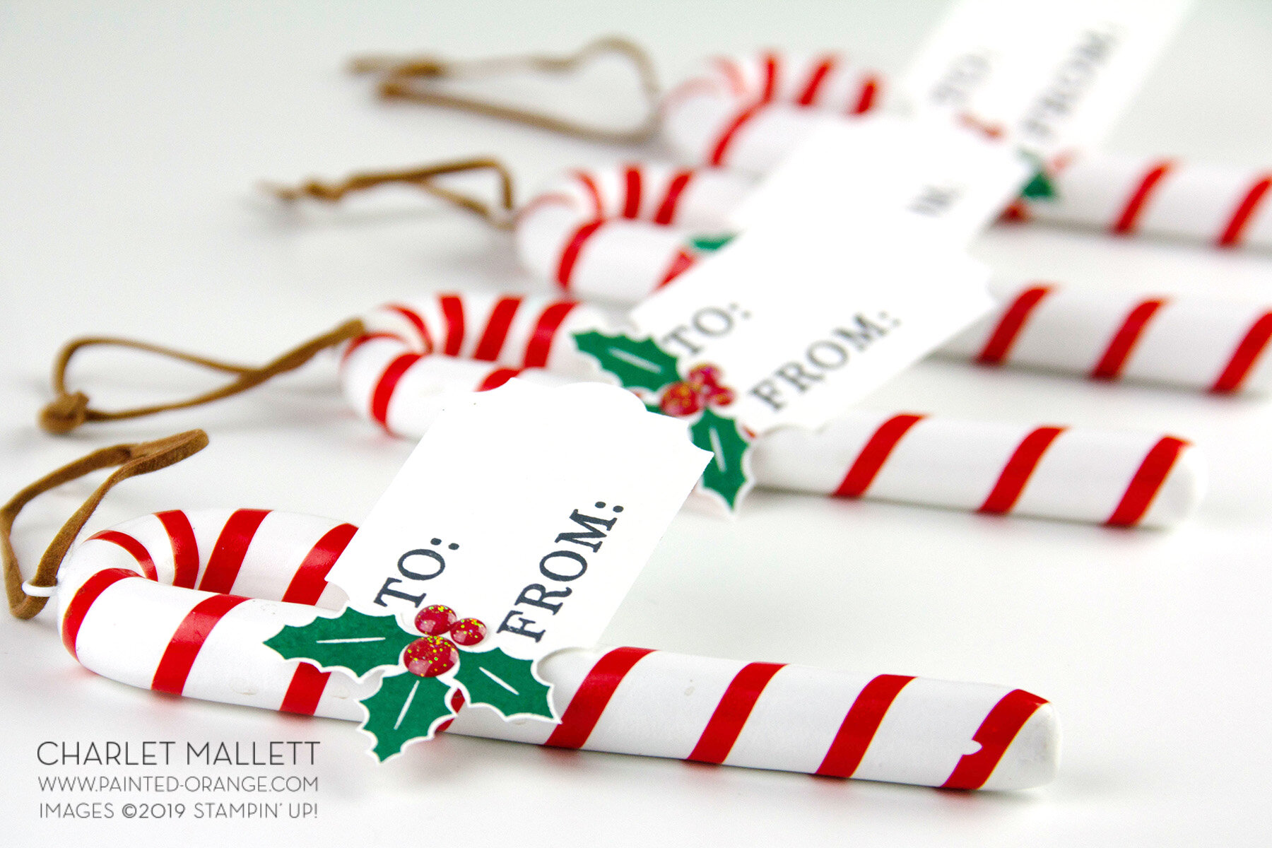 Festival Of Christmas Gift Cards Or Tags Painted Orange